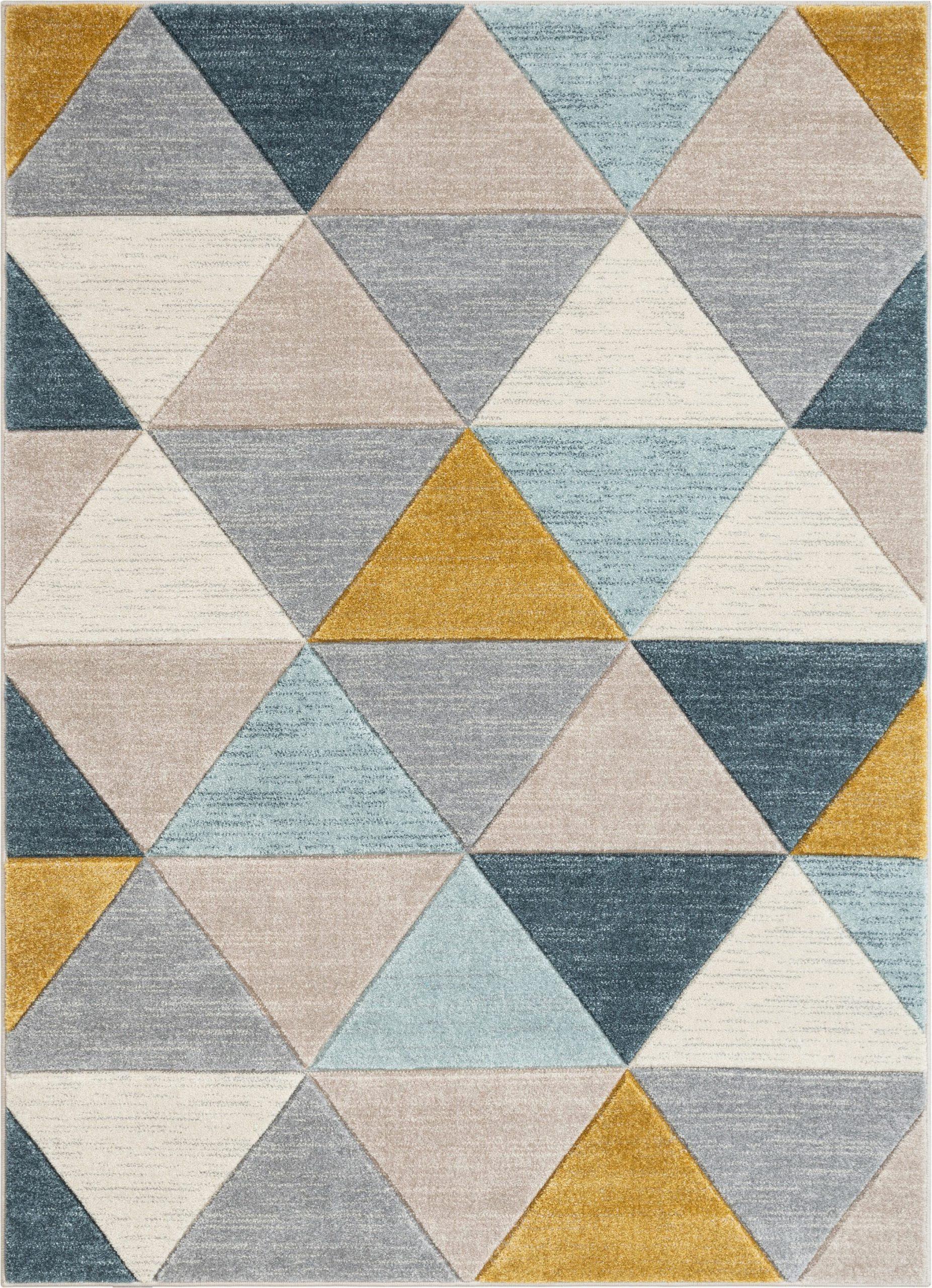 ruby rita mid century modern geometric triangles bluemintivory area rug