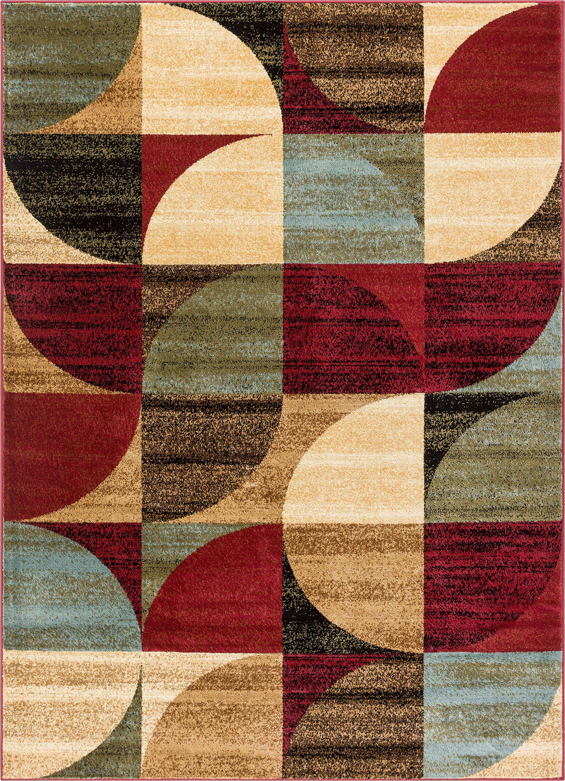 well woven mid century modern multicolour geometric modern area rug easy to clean stain shed free abstract contemporary colour block boxes soft living dining room rug 160 x 120 cm 311 x 53 ft