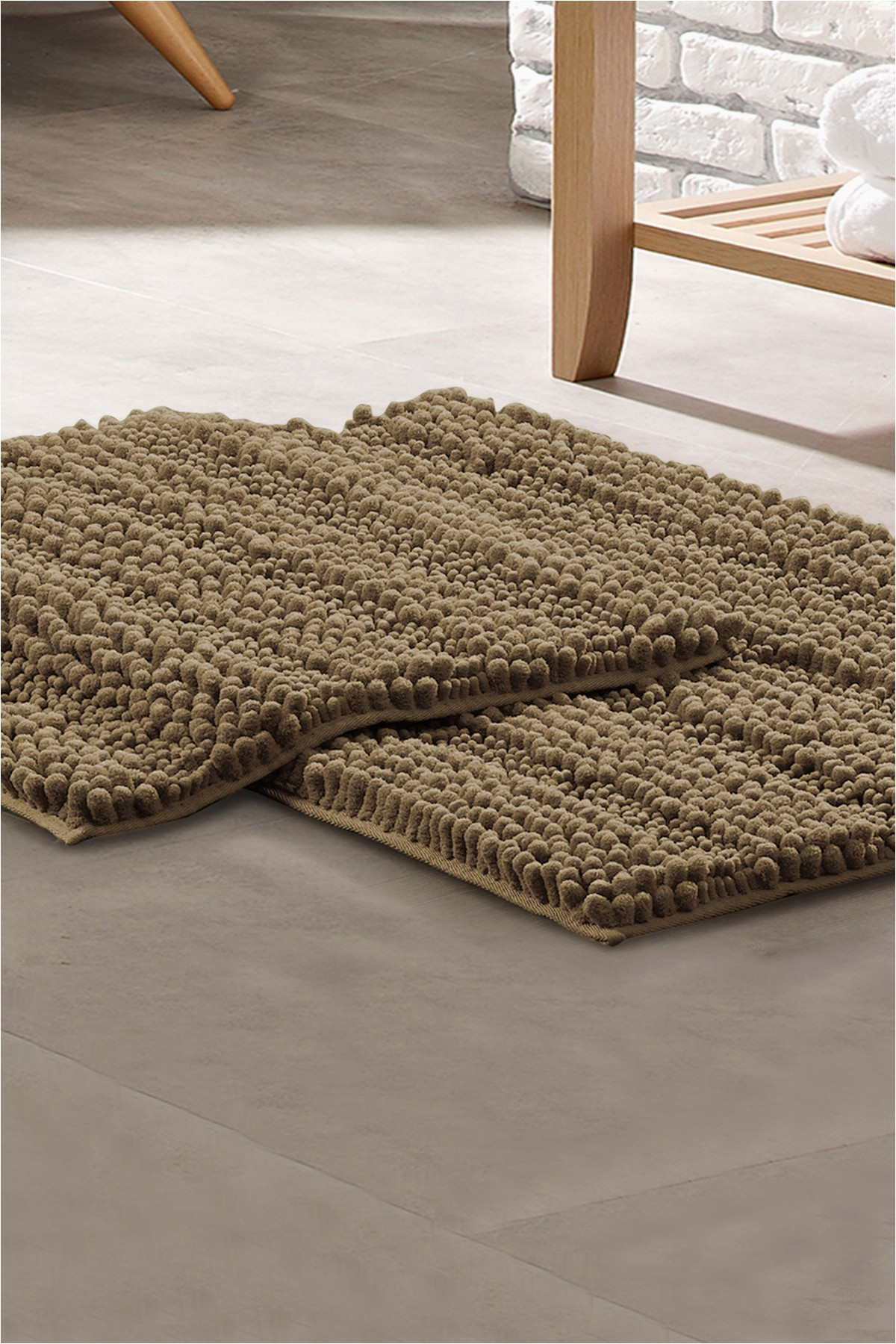 modern threads chenille noodle bath mat 2 piece set taupe