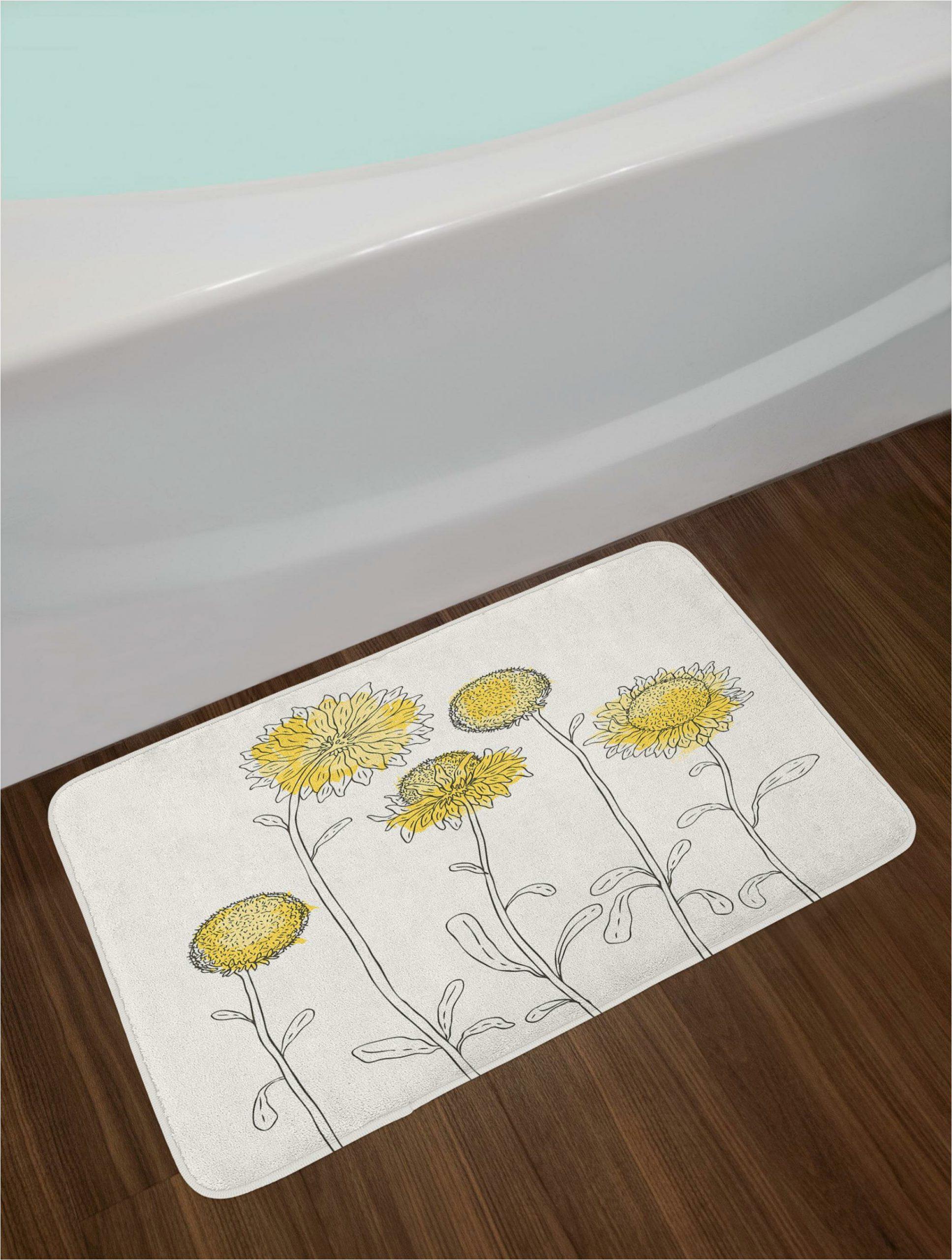 hand yellow flower bath rug