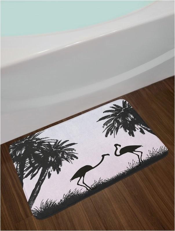 nature flamingo birds and palm trees in miami exotic natural scenery artwork non slip plush bath rug
