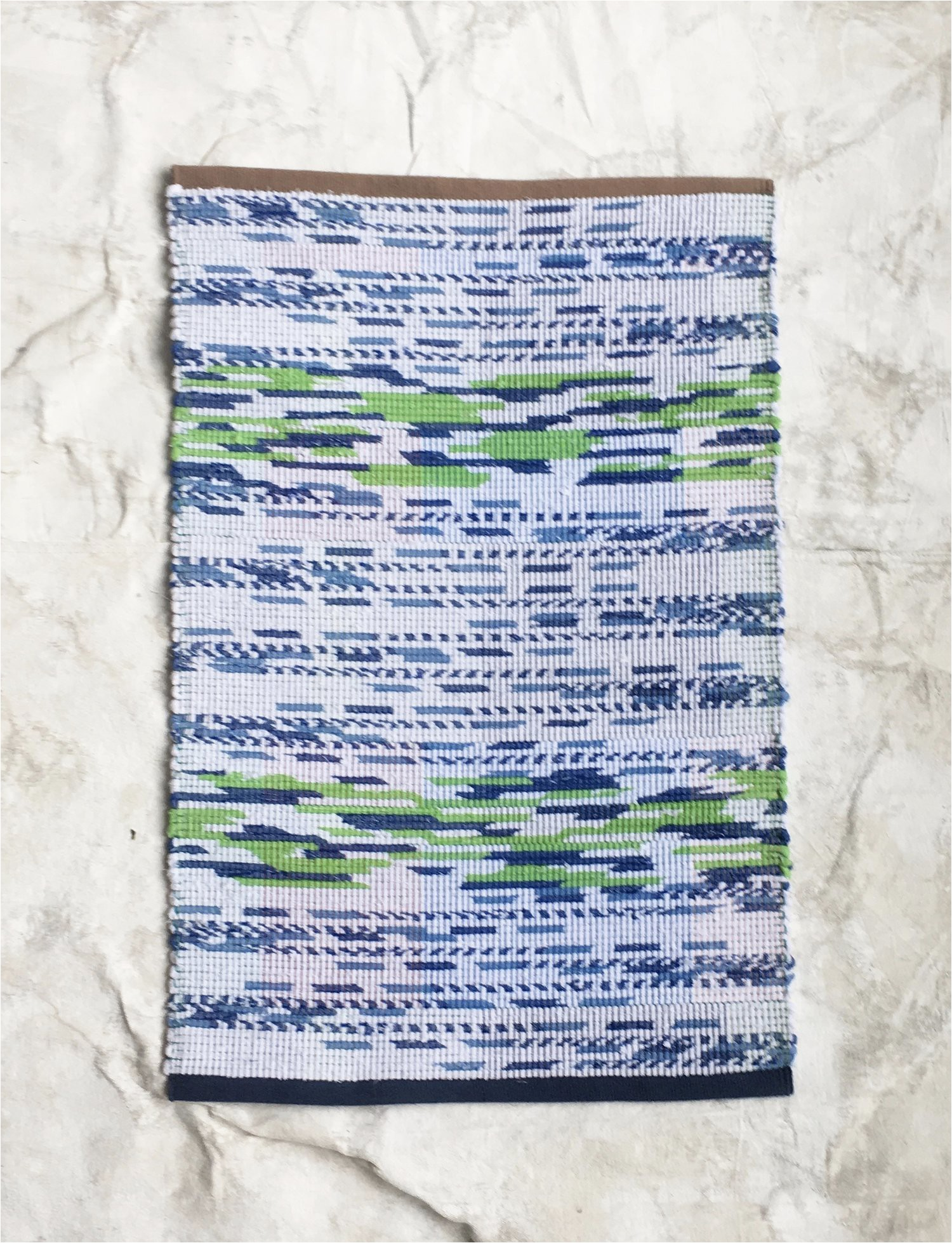 rag rug bath mat green and blue k5w94