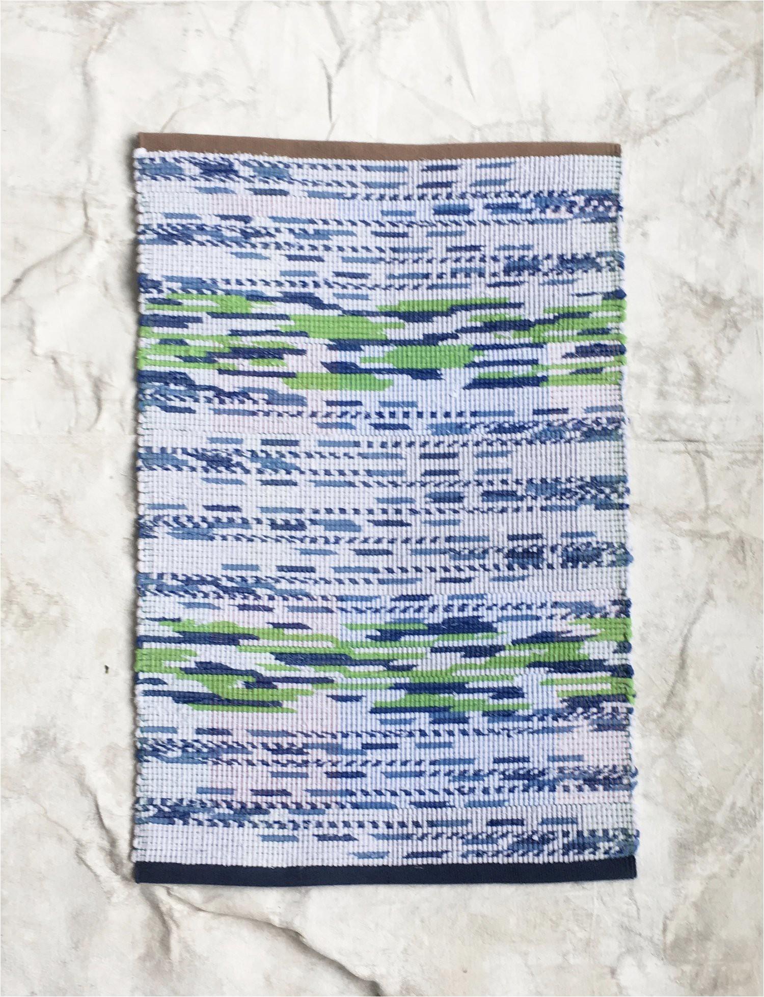 rag rug bath mat green and blue k5w94