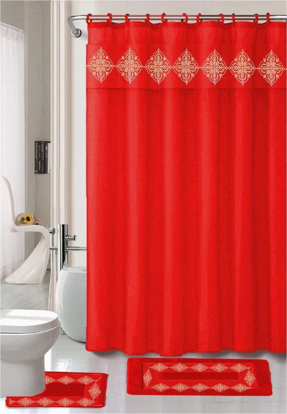 Red and Gold Bathroom Rugs 4 Piece Bathroom Rugs Set Non Slip Red Gold Color Bath Rug toilet Contour Mat with Fabric Shower Curtain and Matching Rings Daisy Red