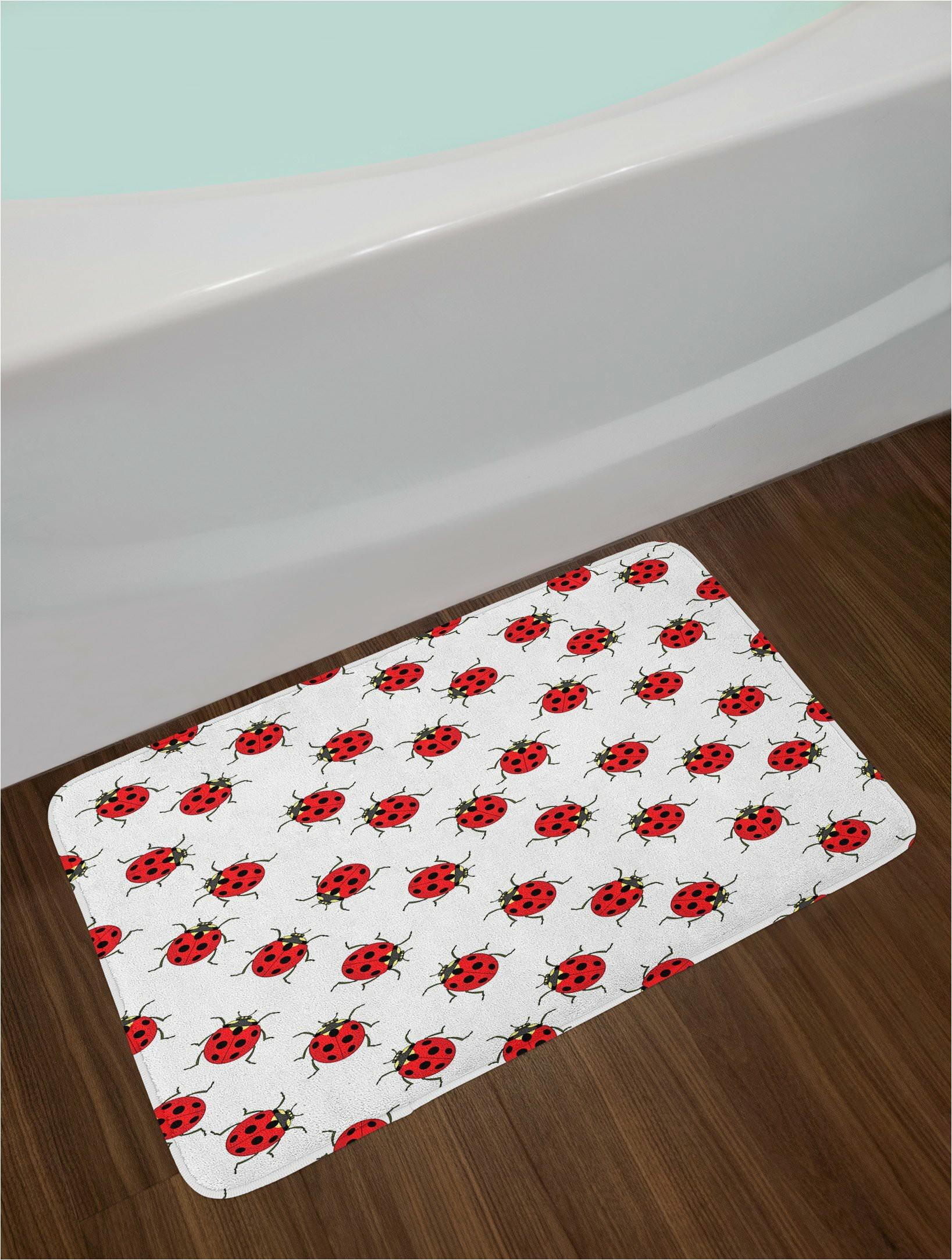 red white ladybugs bath rug