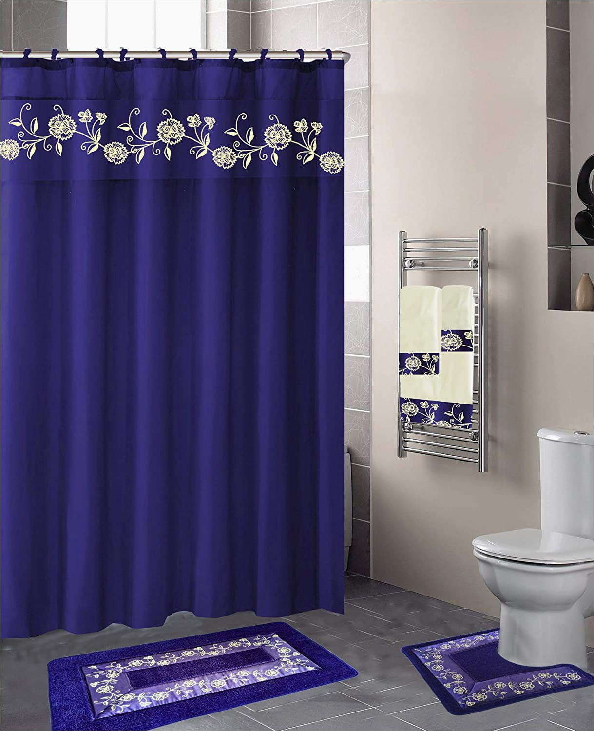 Royal Blue Bath Rug Sets Luxury Home Collection 18 Pc Bath Rug Set Embroidery Non Slip Bathroom Rug Mats and Rug Contour and Shower Curtain and towels and Rings Hooks and