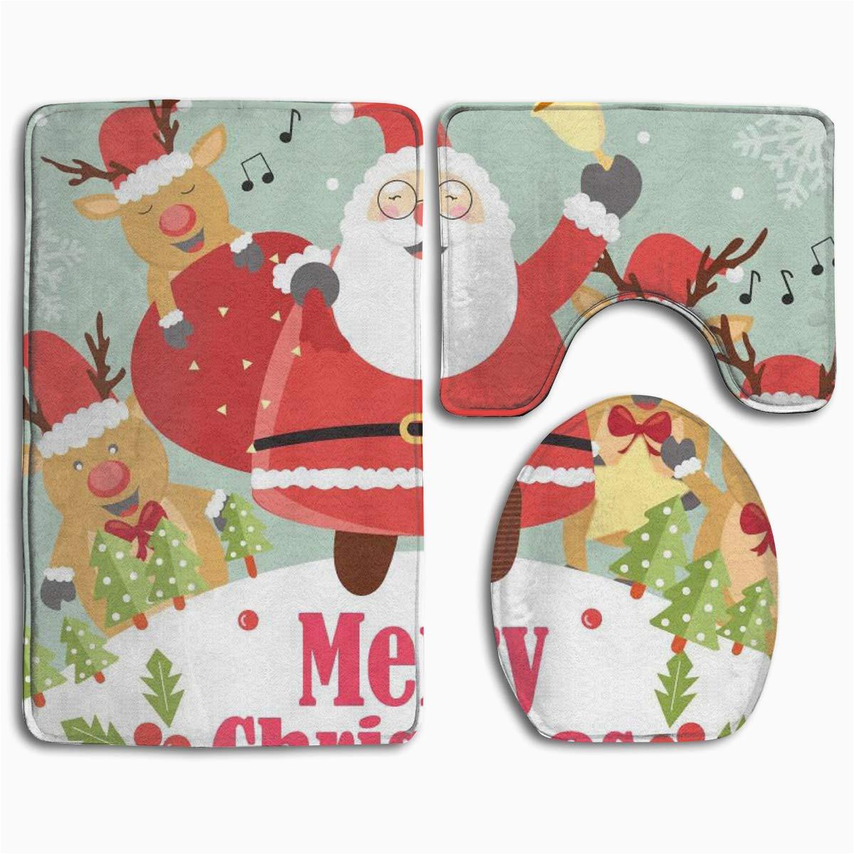 Santa Claus Bathroom Rugs Gohao Christmas Santa Claus 3 Piece Bathroom Rugs Set Bath