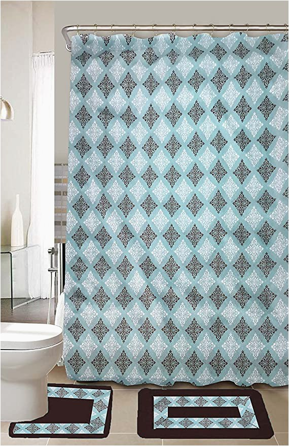 Turquoise and Brown Bathroom Rugs Amazon Empire Home Ruby 15 Piece Turquoise & Brown