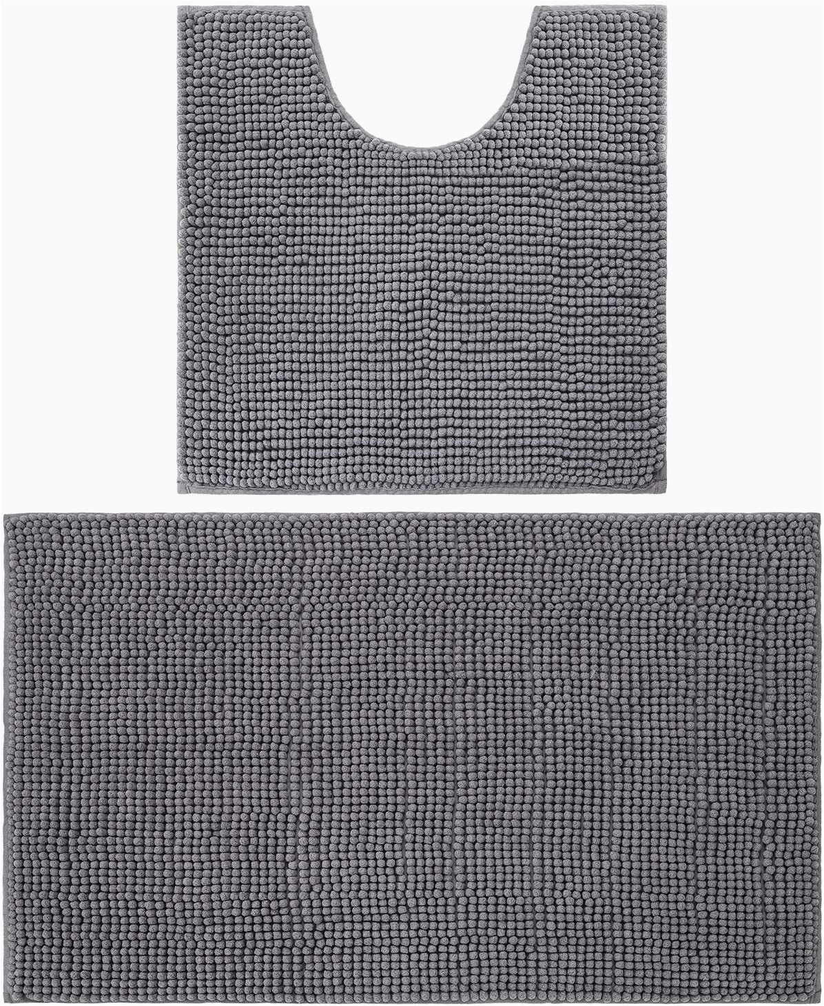 lochas shaggy chenille bathroom rug set 2piece plush bath rugs mats water absorbent carpet non slip contour toilet mat machine washable 32 x 2020x 20 grey ar