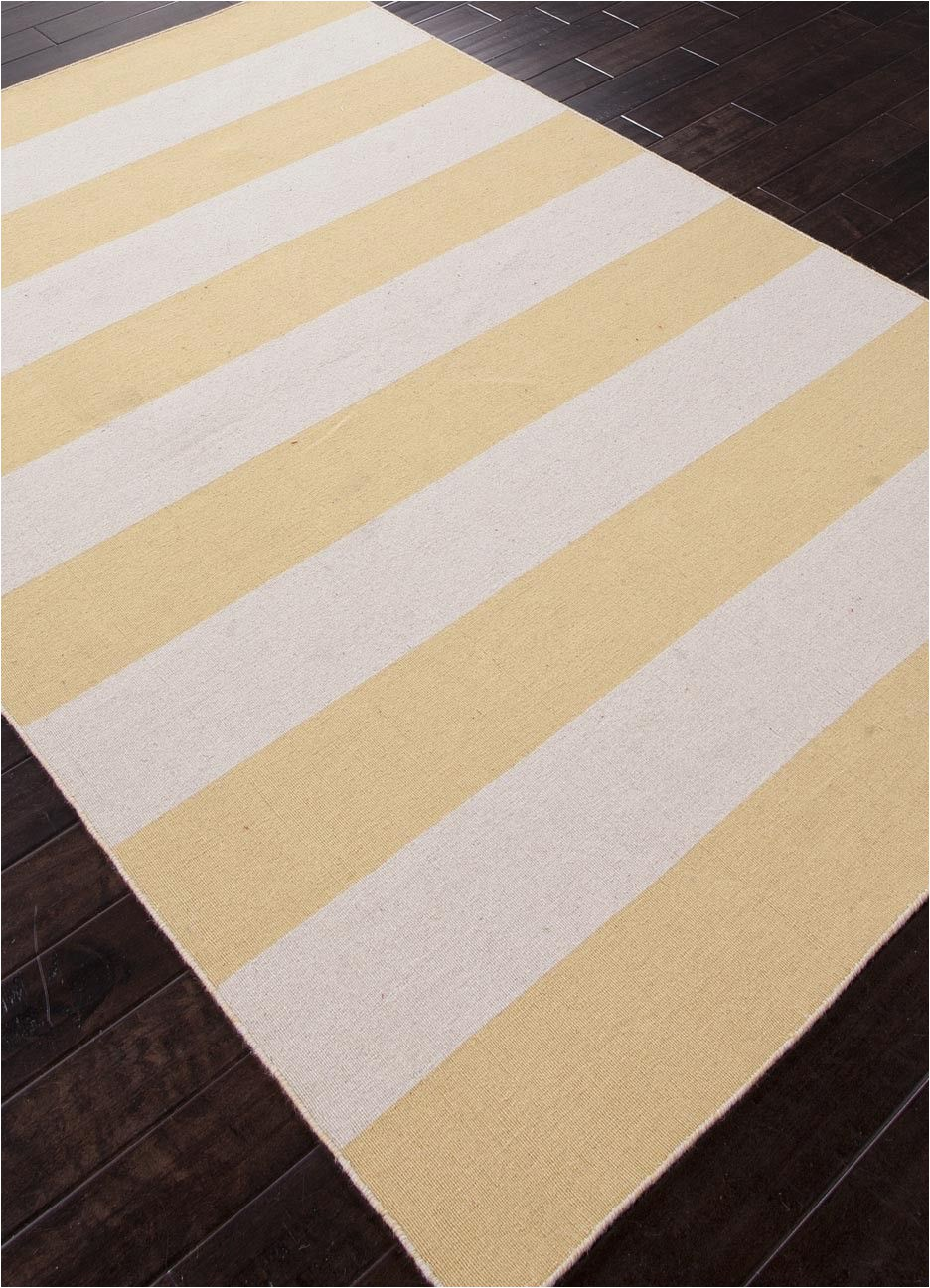 Yellow and White Striped area Rug Tierra Collection From Jaipur Cornsilk Yellow and White