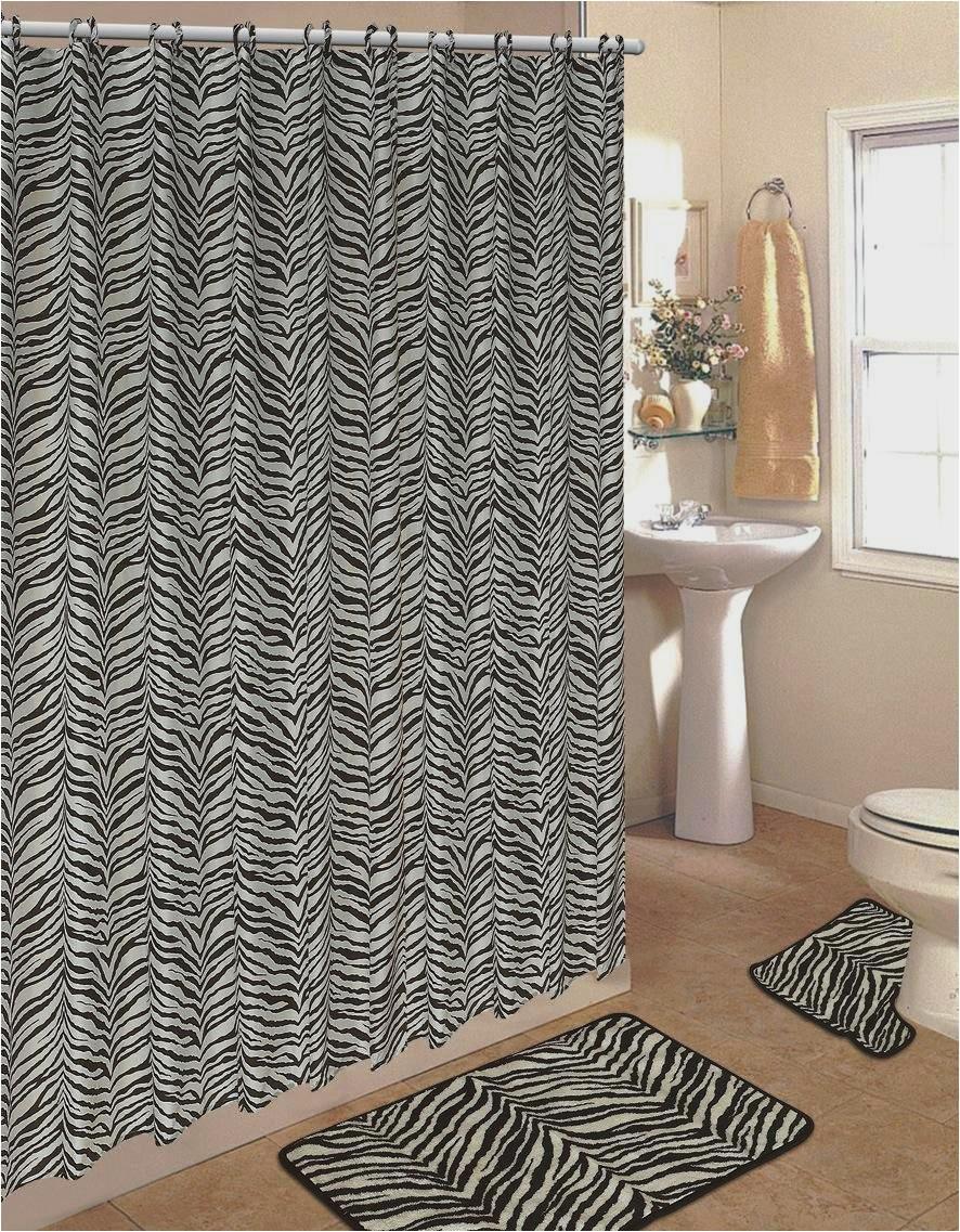 4pcs bath rug set zebra white print bathroom rug shower curtain mat rings by jenin