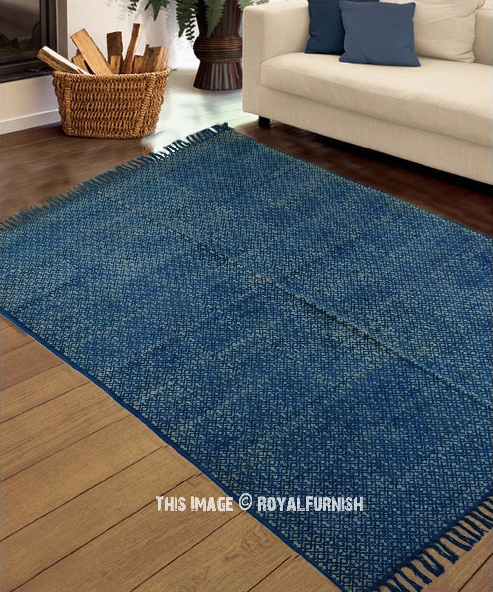 bohemian colorful indigo blue area rug 4x6 ft
