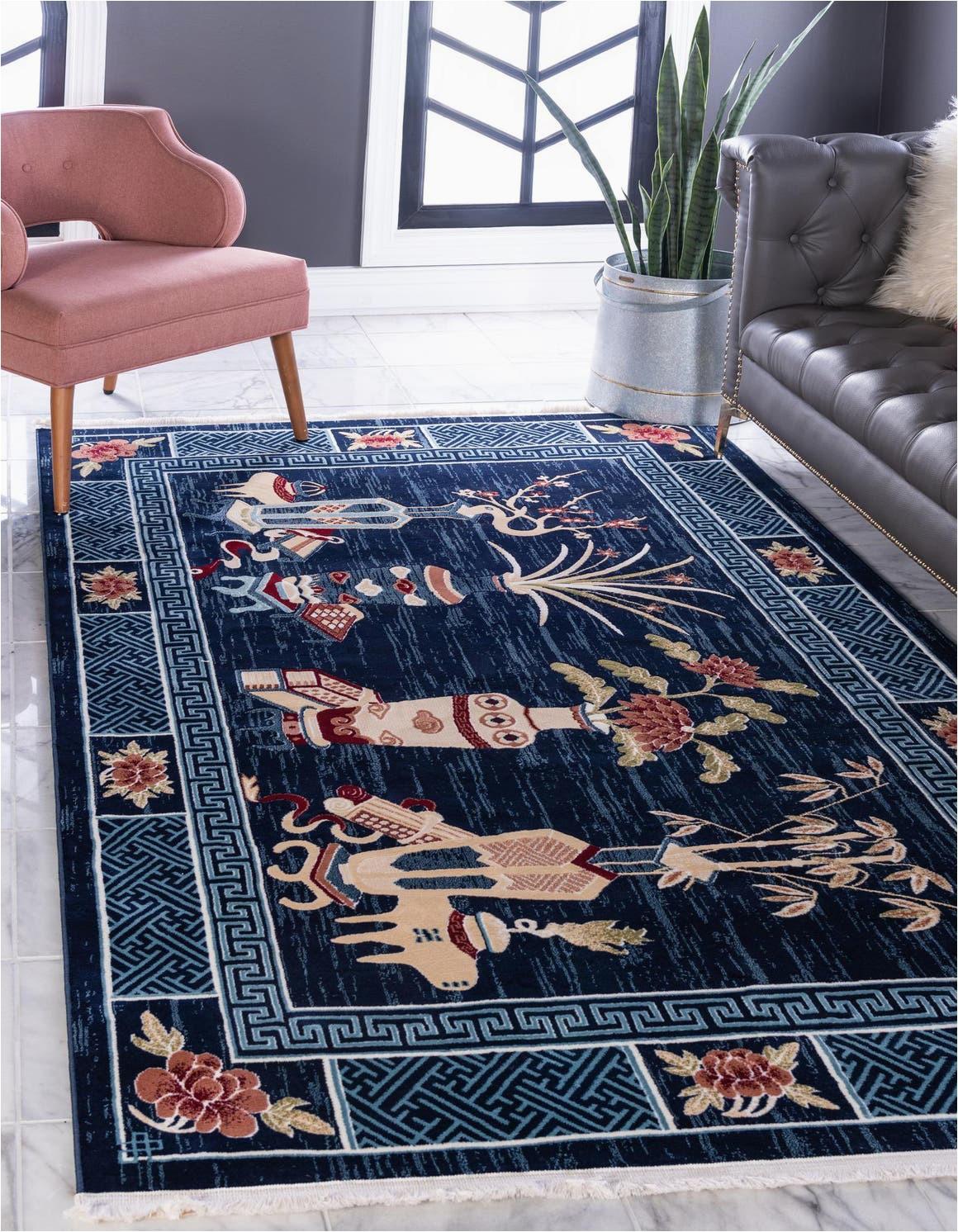 navy blue 4x6 pao tou area rug