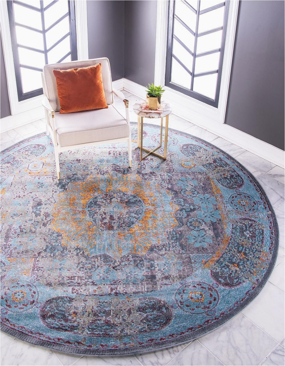 5 by 5 area Rugs Blue 5 5 X 5 5 Santiago Round Rug area Rugs