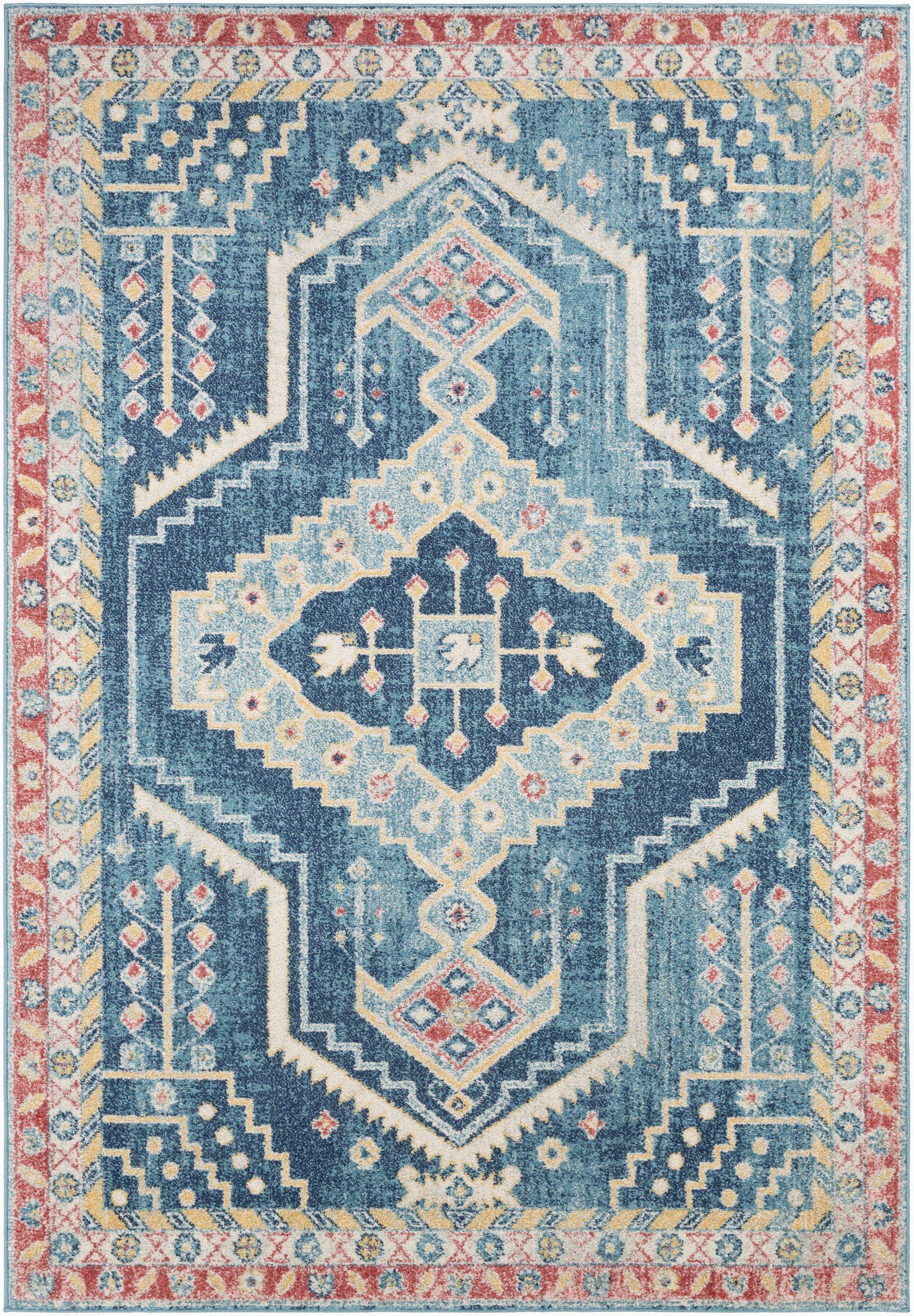 bilaal oriental sky blue area rug