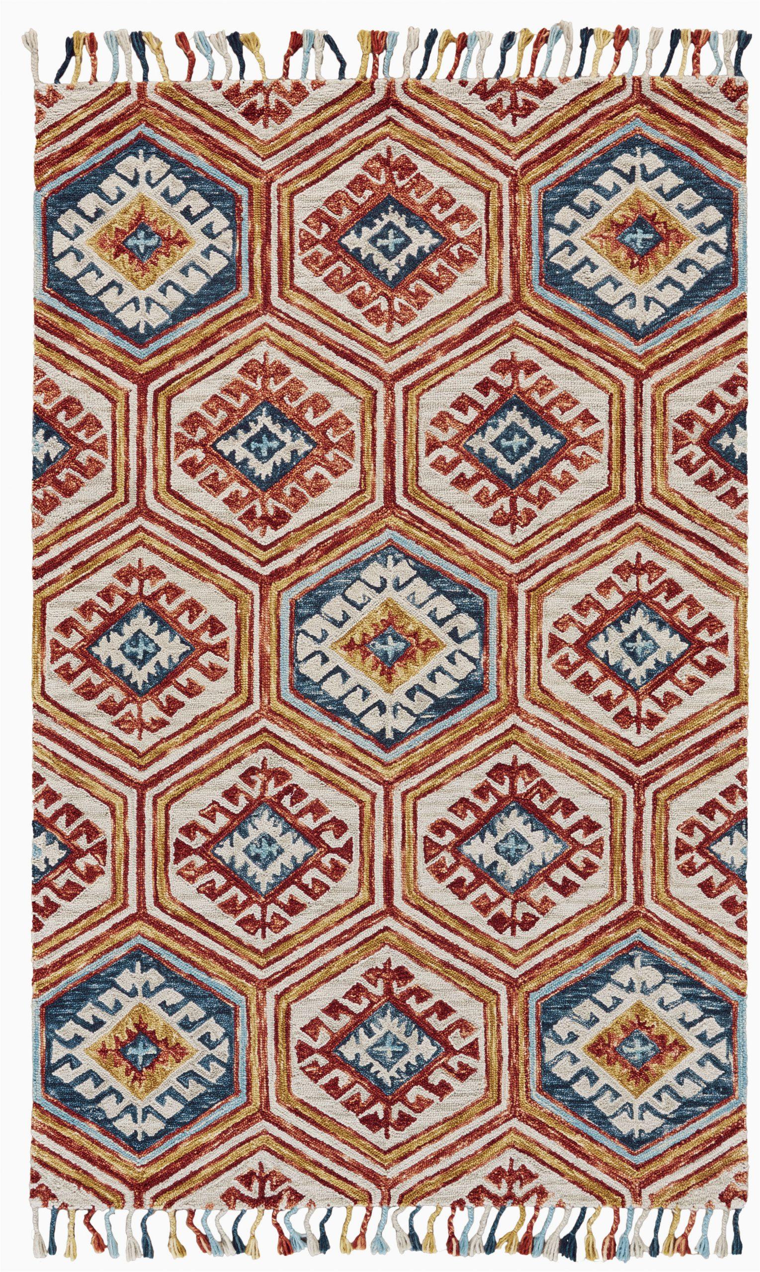 florence geometric handmade tufted wool orangeblue area rug