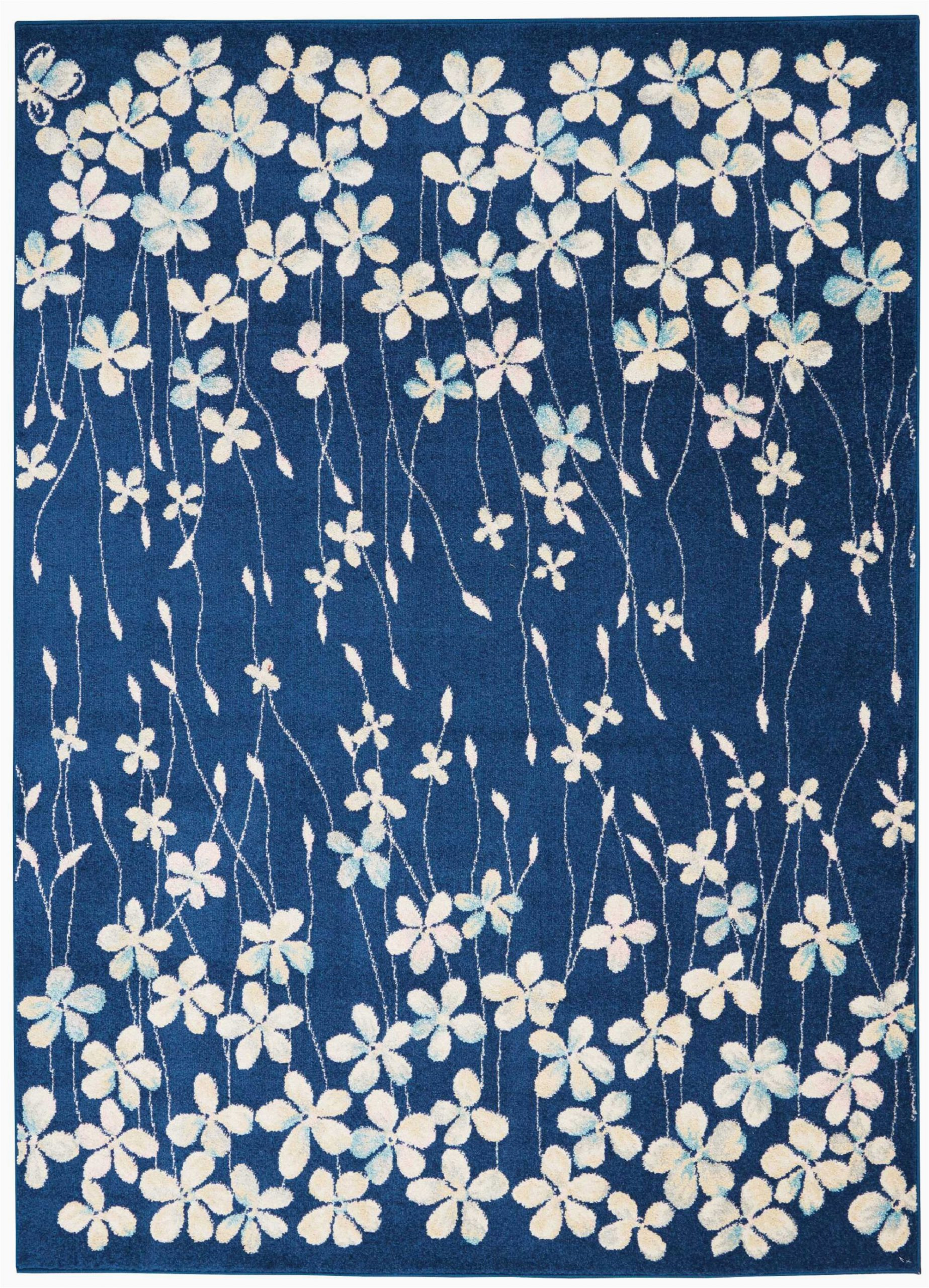 floral navy blueivory white area rug