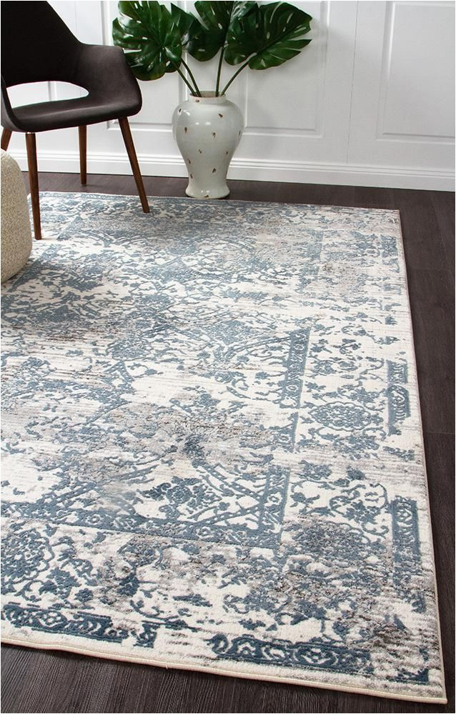 Blue and White Modern Rug Kenna White Blue Abstract Vintage Rug In 2020