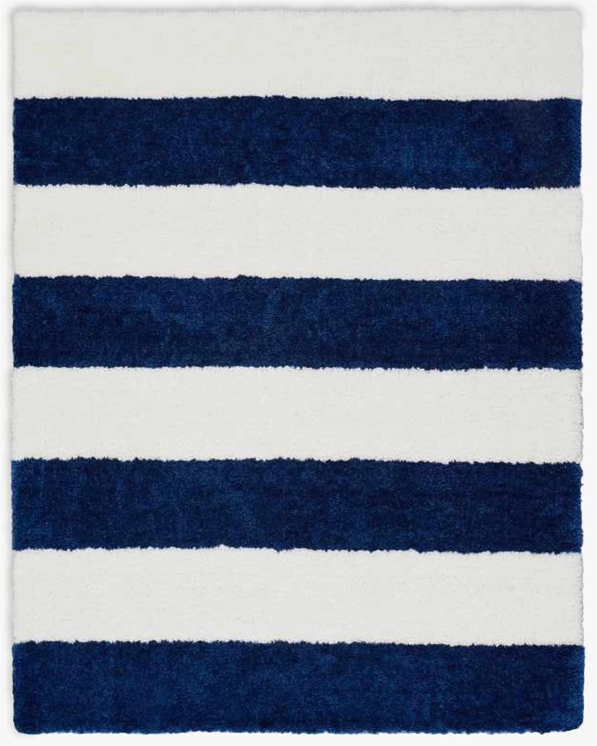 chicago striped handmade shag whitenavy blue area rug