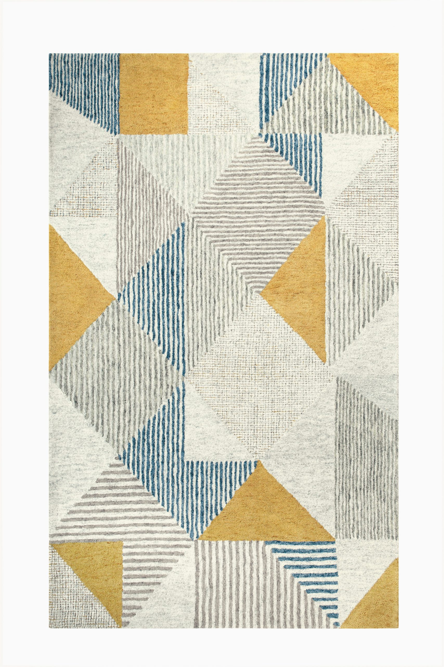 griffin geometric handmade tufted wool bluegrayyellow area rug