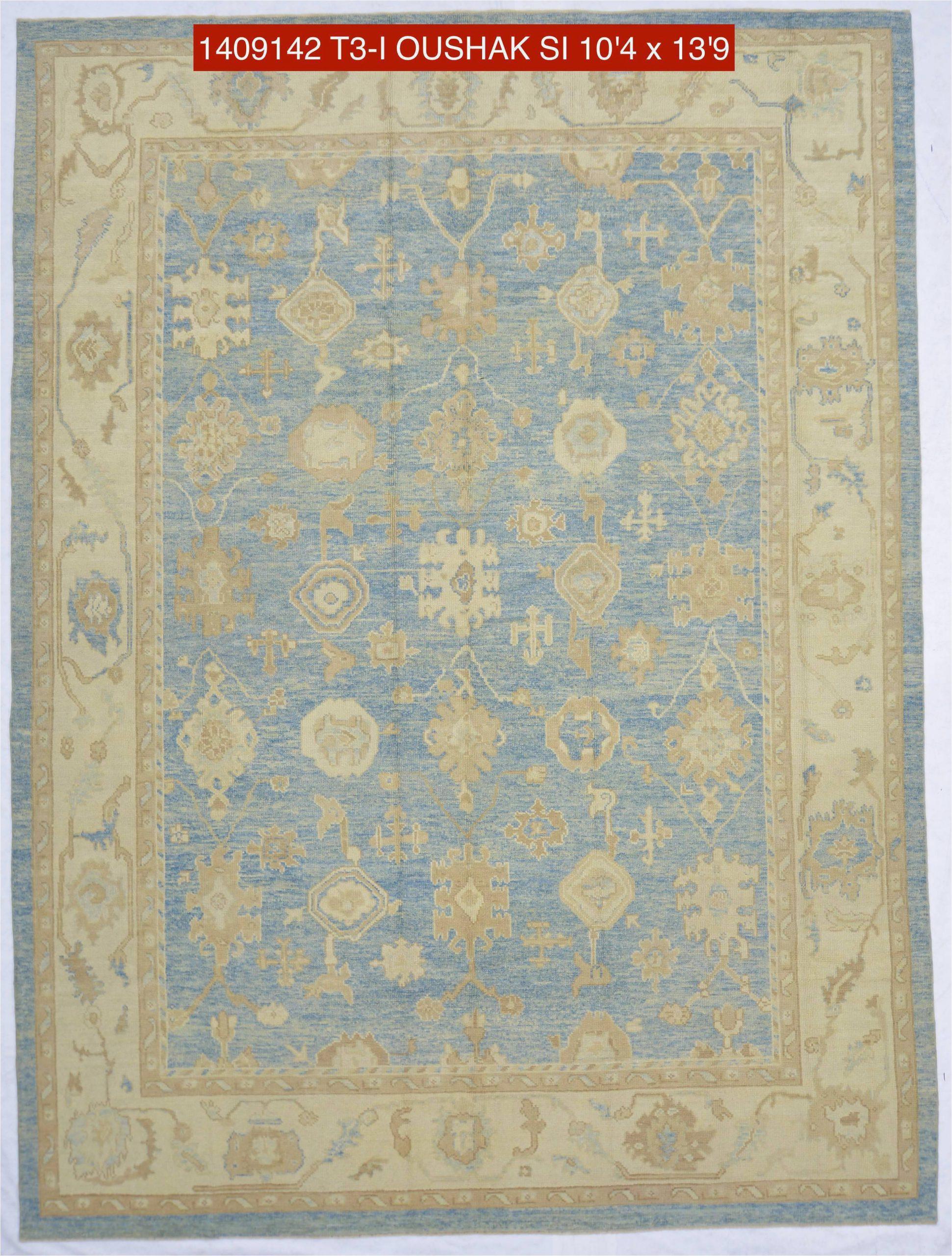 10x14 blue modern oushak area rug 1