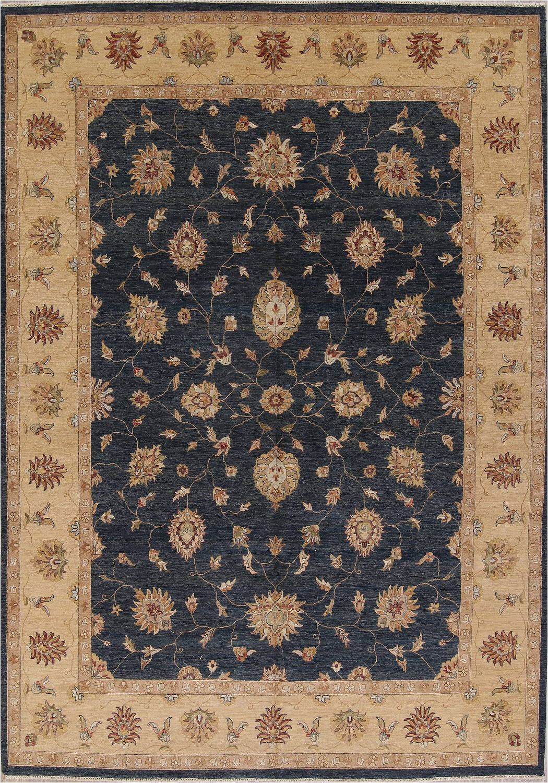 charcoal blue floral oushak oriental area rug 10x14