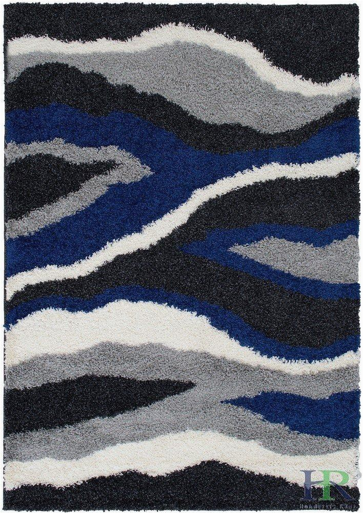Blue Black and Grey Rug Shed Free Shaggy area Rugs Contemporary Abstract Wave