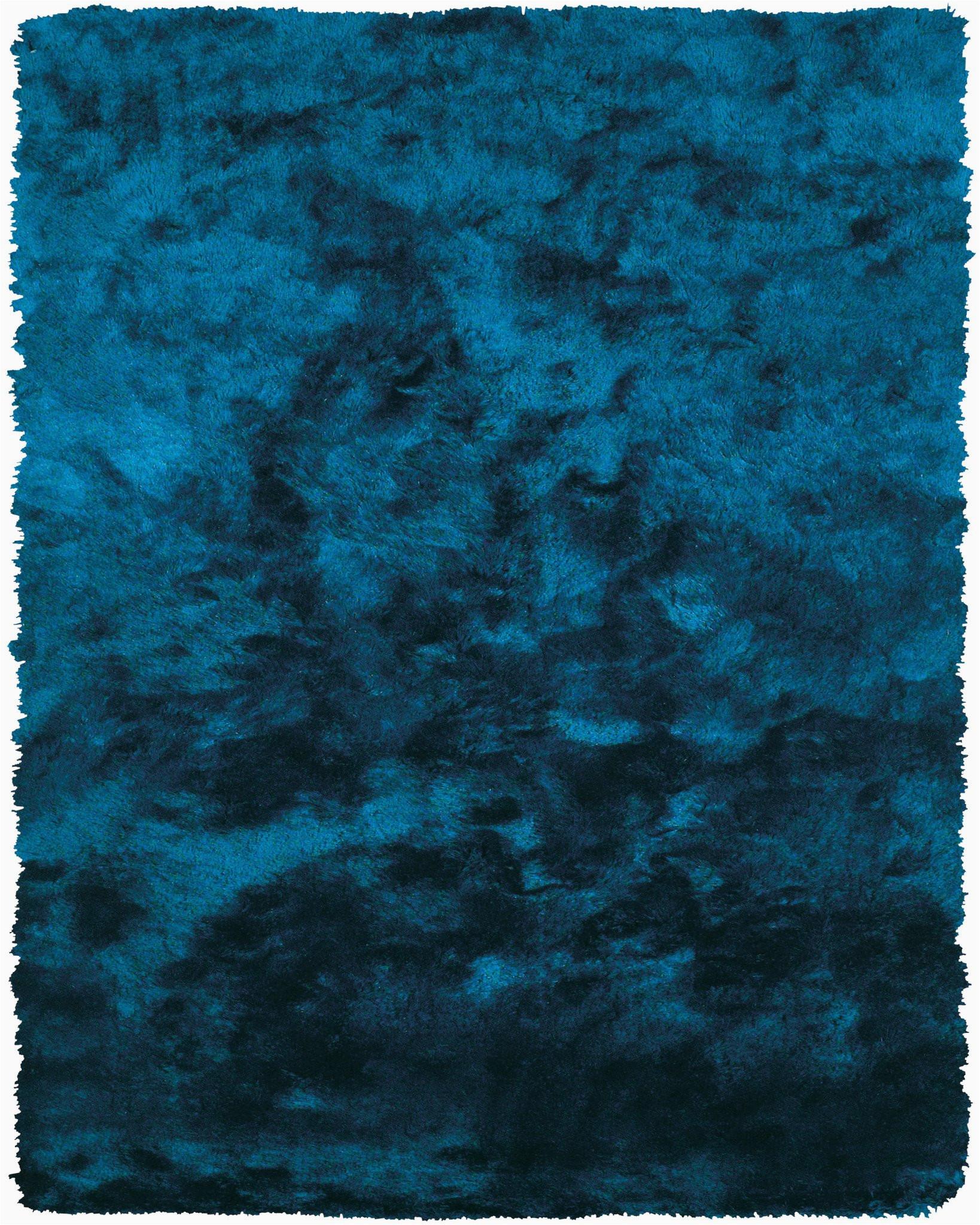 Blue Shaggy area Rug Plush Collection Art Silk Shag area Rug In Teal Burke Decor