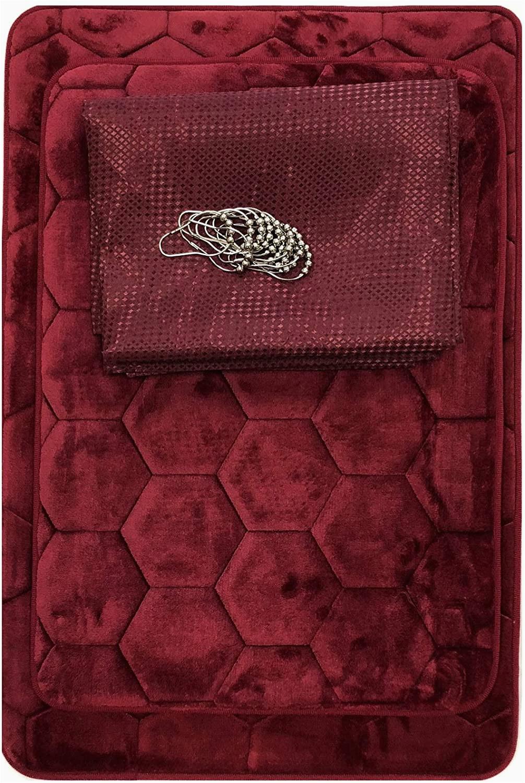 Burgundy Bath Rugs Sets Amazon Com 15 Piece Bath Rug Set Honeycomb Design Memory