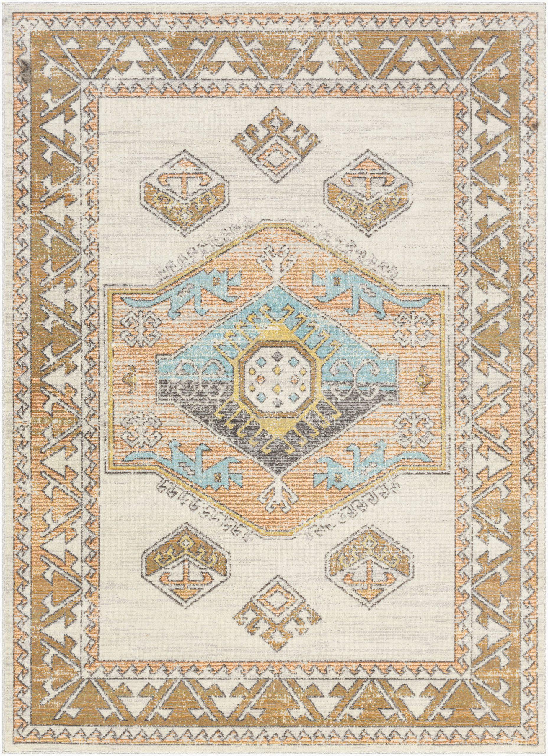 protivin southwestern graysaffron indoor outdoor area rug
