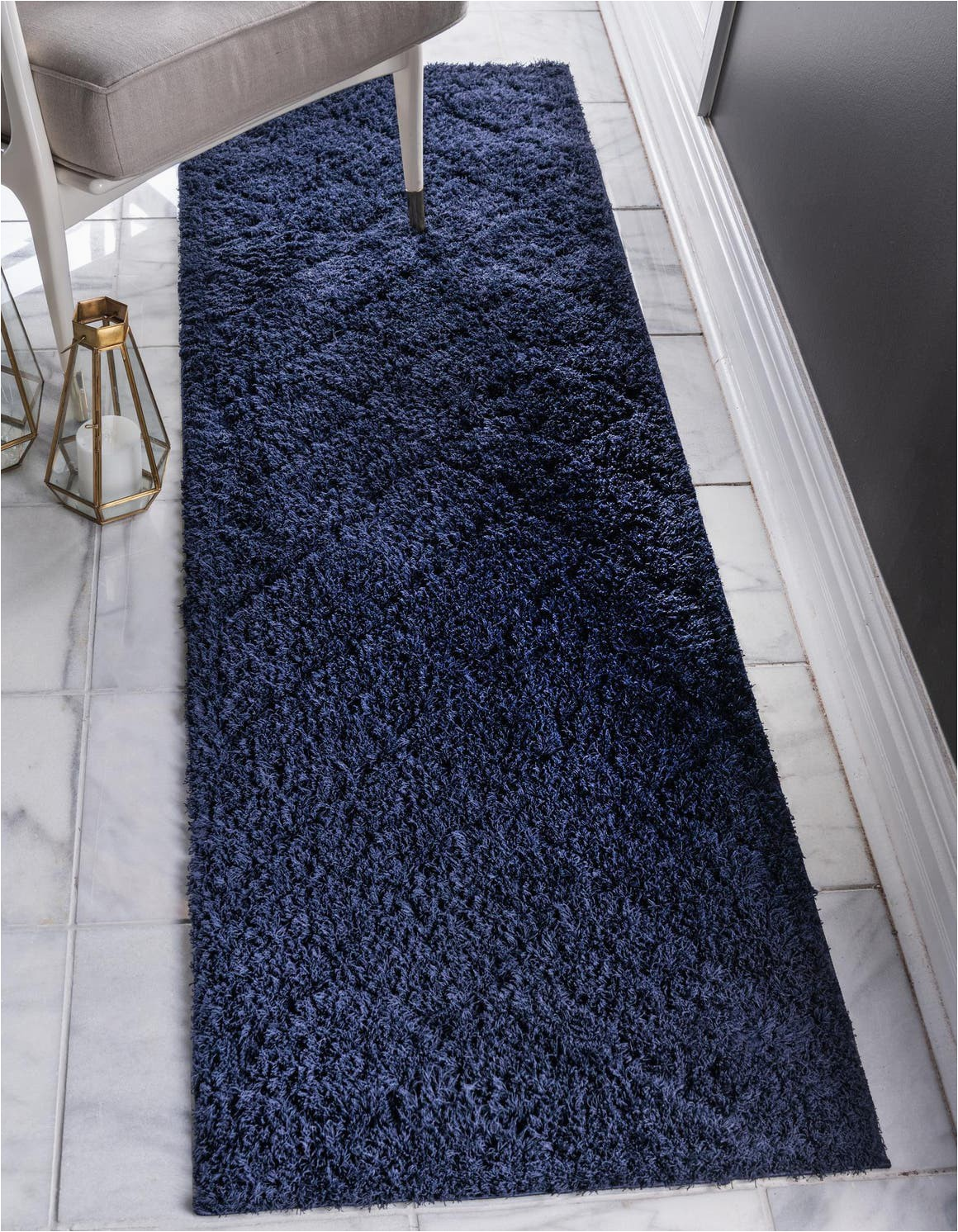 navy blue 6 ft runner lattice shag area rug
