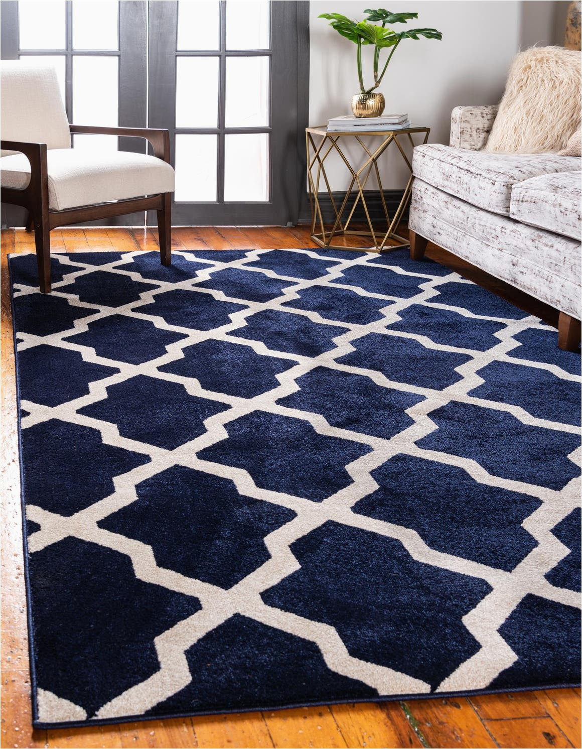navy blue 5x8 lattice area rug