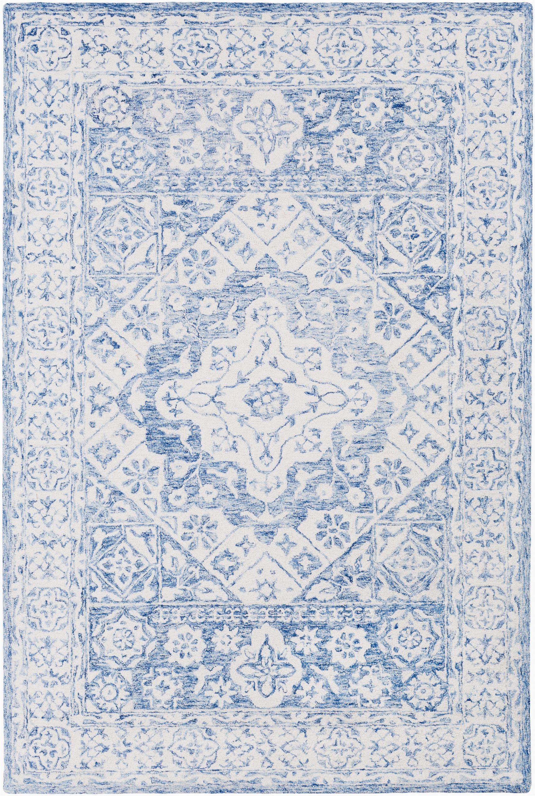 elliot hand hooked wool pale blueivory area rug