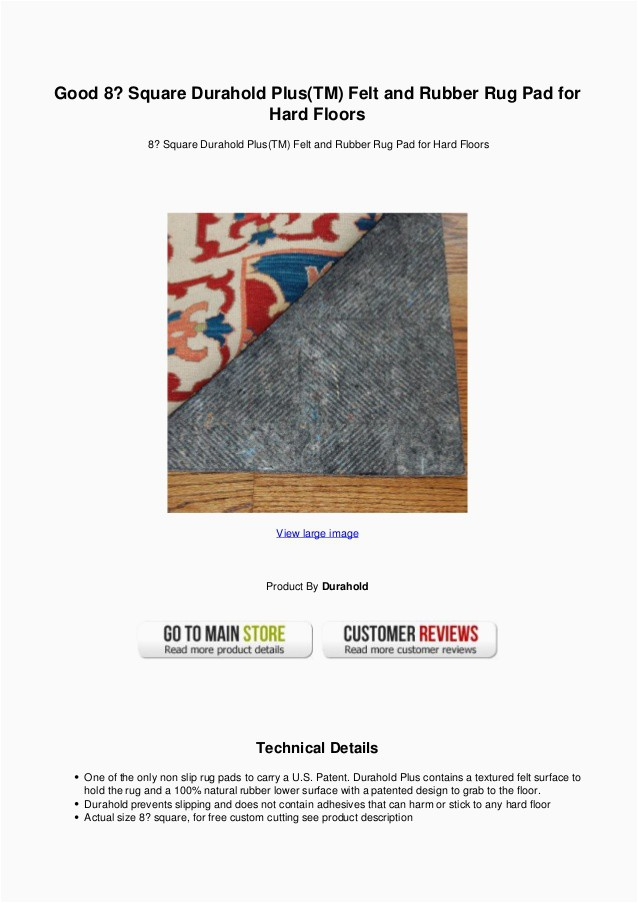 Felt and Rubber area Rug Pads Good 8 Square Durahold Plus Tm Felt and Rubber Rug Pad for