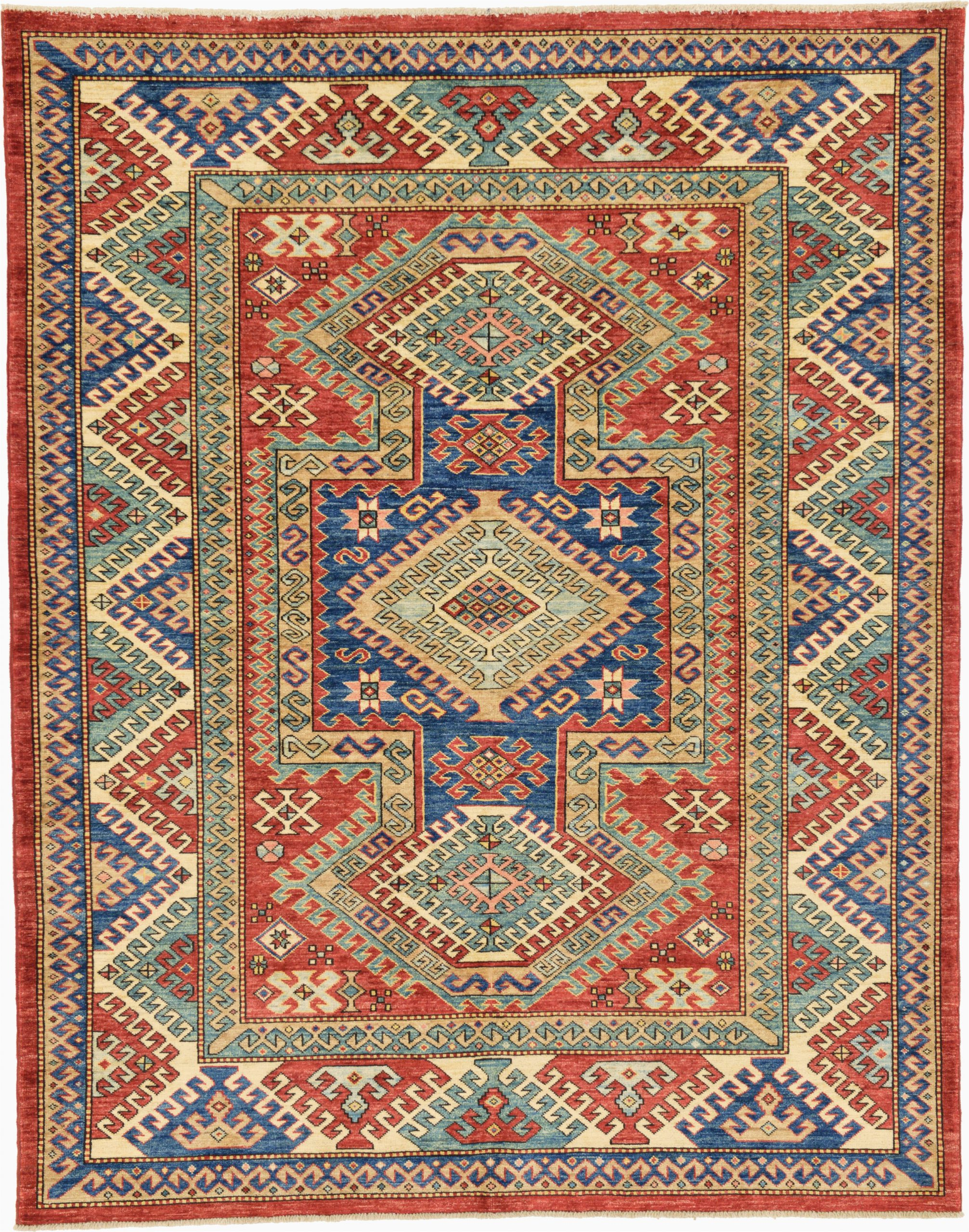 isabelline one of a kind alayna hand knotted 58 x 72 wool redblue area rug vlht9586