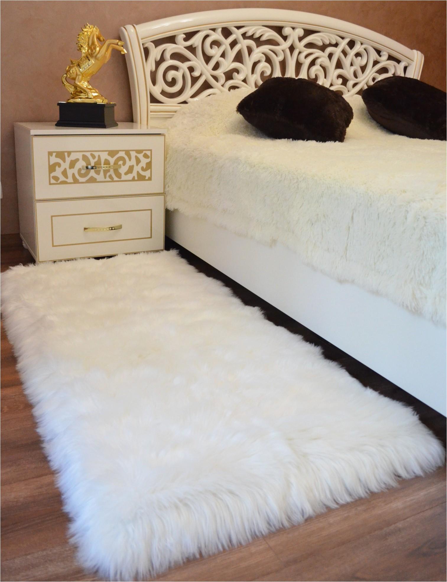 premium faux sheepskin fur rug white 2 3x5 feet best extra long shag pile carpet for bedroom floor sofa soft fur area rug