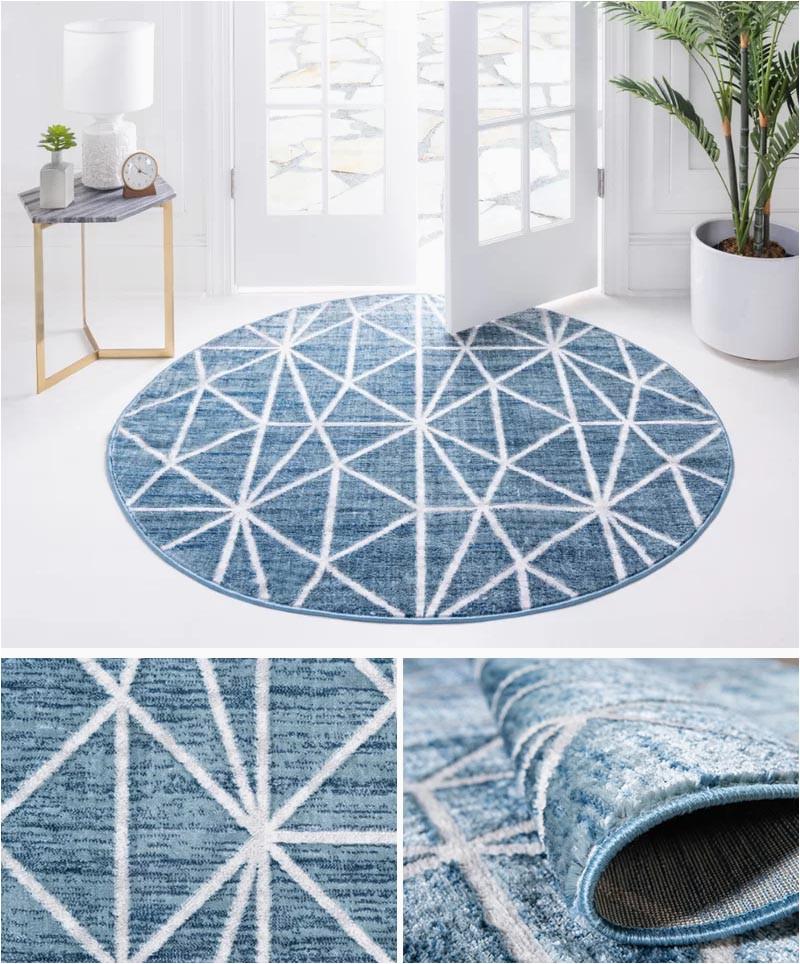 modern round blue rug indoor outdoor 822 03