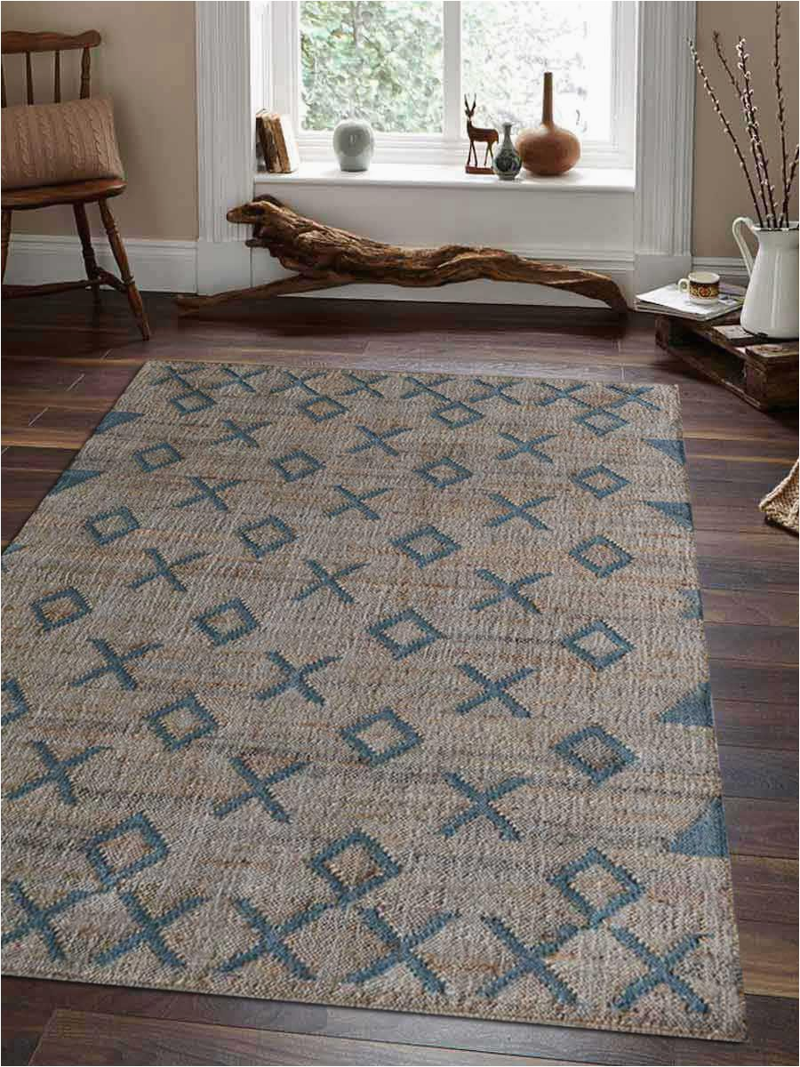 hand woven kilim jute eco friendly natural area rug contemporary beige light blue j size=selected