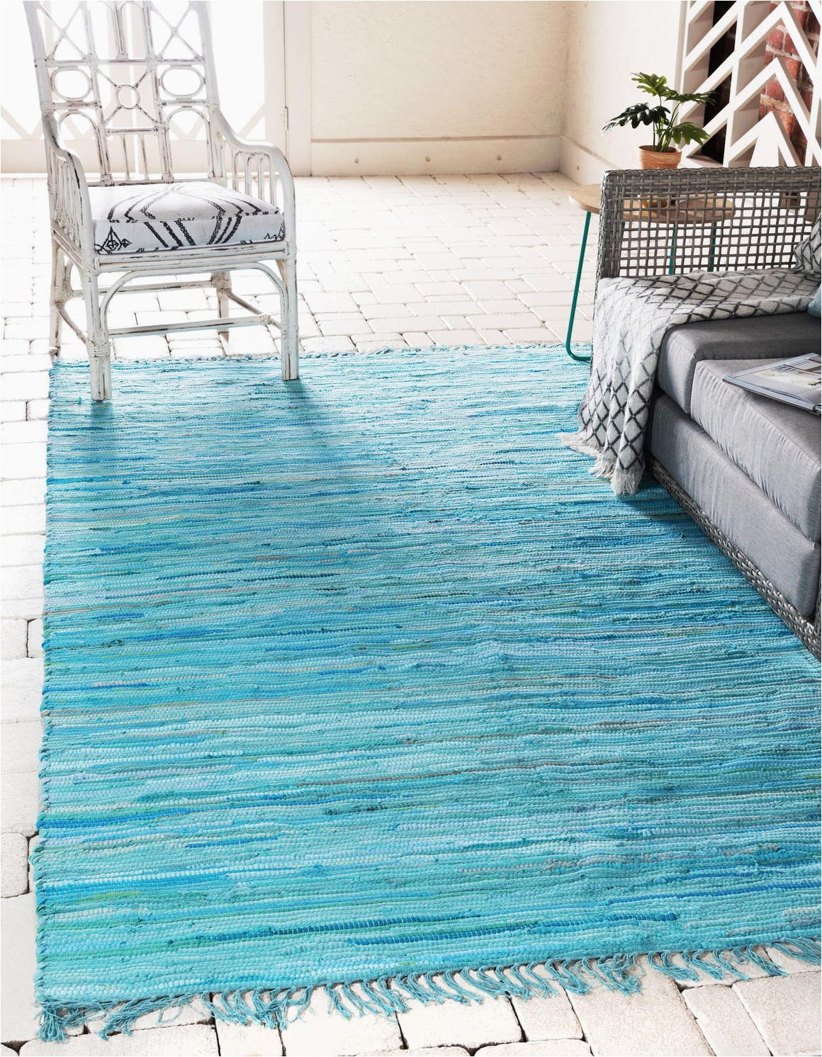 light blue 8x10 chindi cotton area rug