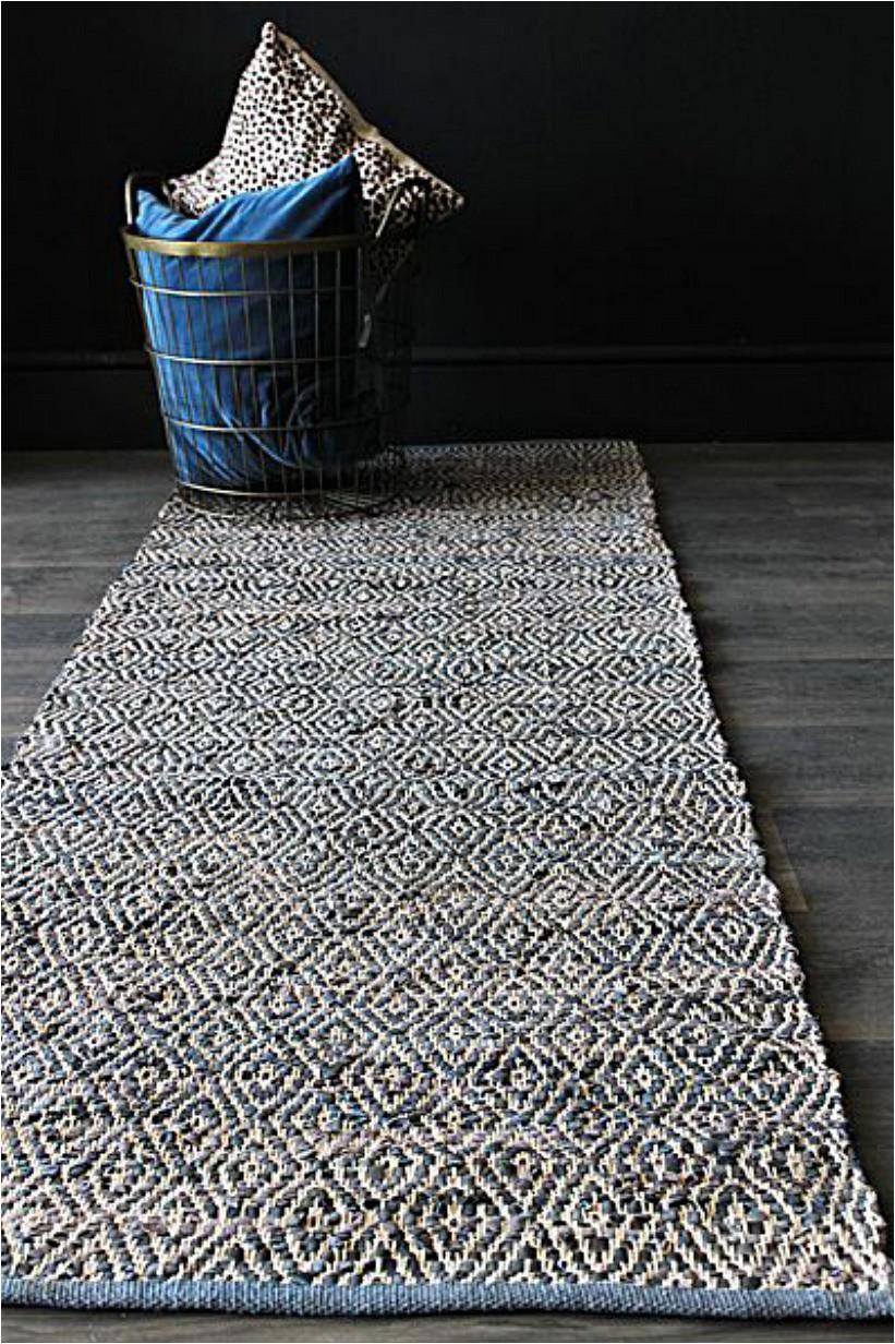 blue leather geometric runner rug p