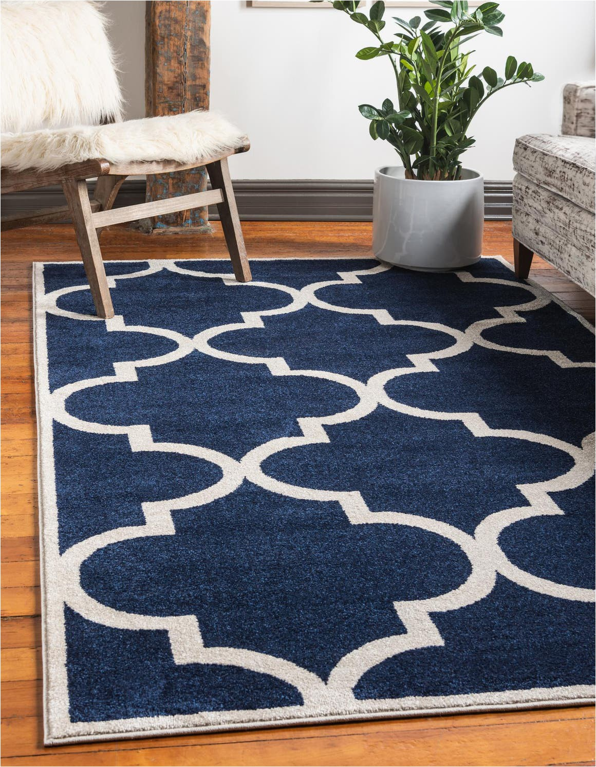 navy blue 7x10 trellis area rug
