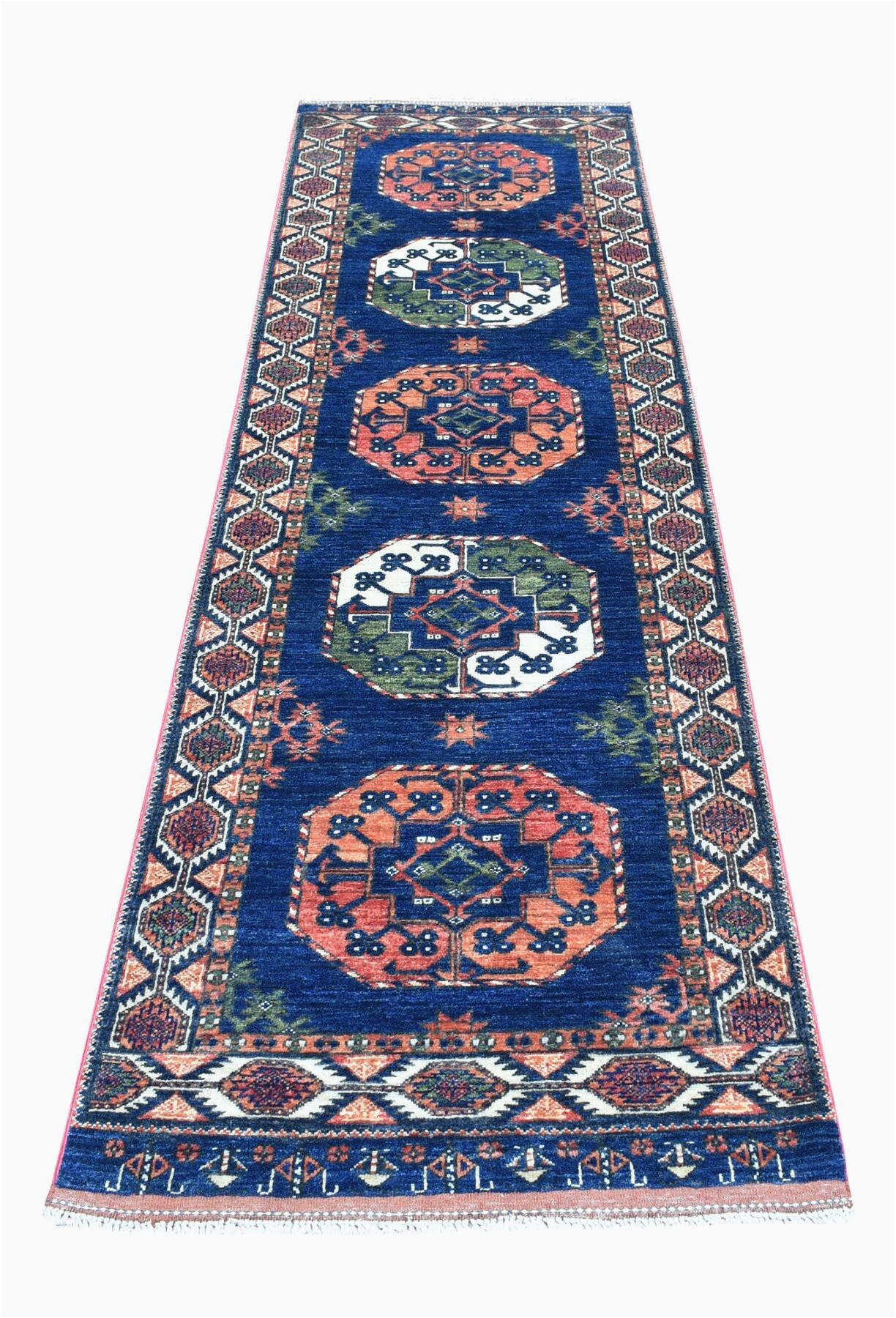 isabelline one of a kind hand knotted orangeblue 28 x 97 runner wool area rug w