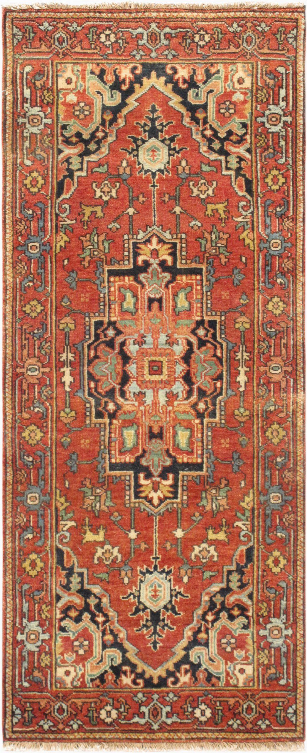 runner hand knotted wool orangeblue rug
