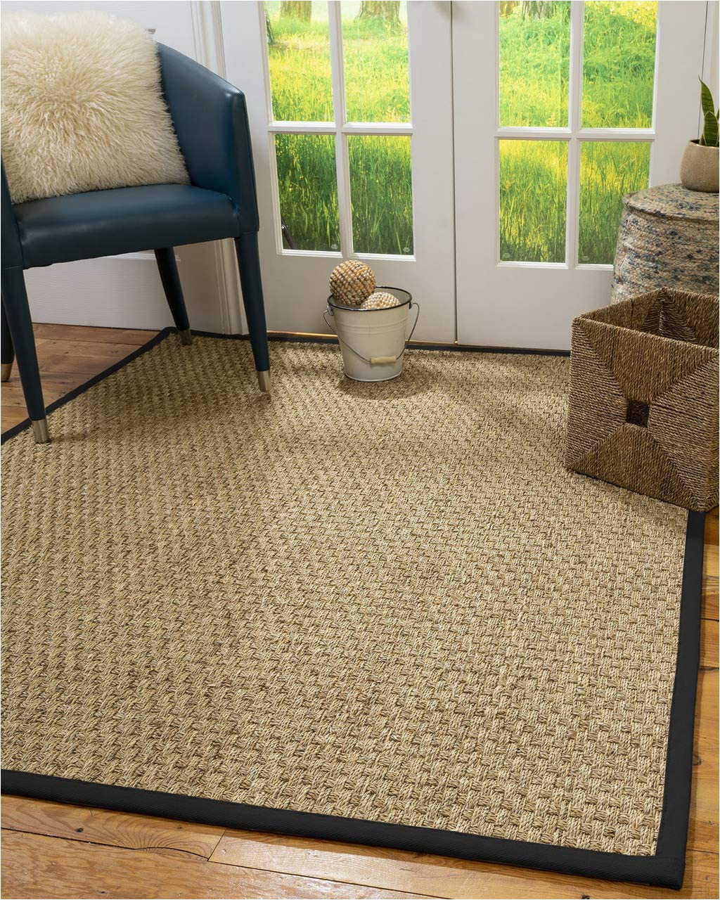 Organic area Rugs Made In Usa Naturalarearugs Optimum area Rug Natural Seagrass Hand Crafted Black Wide Canvas Border 8 X 10