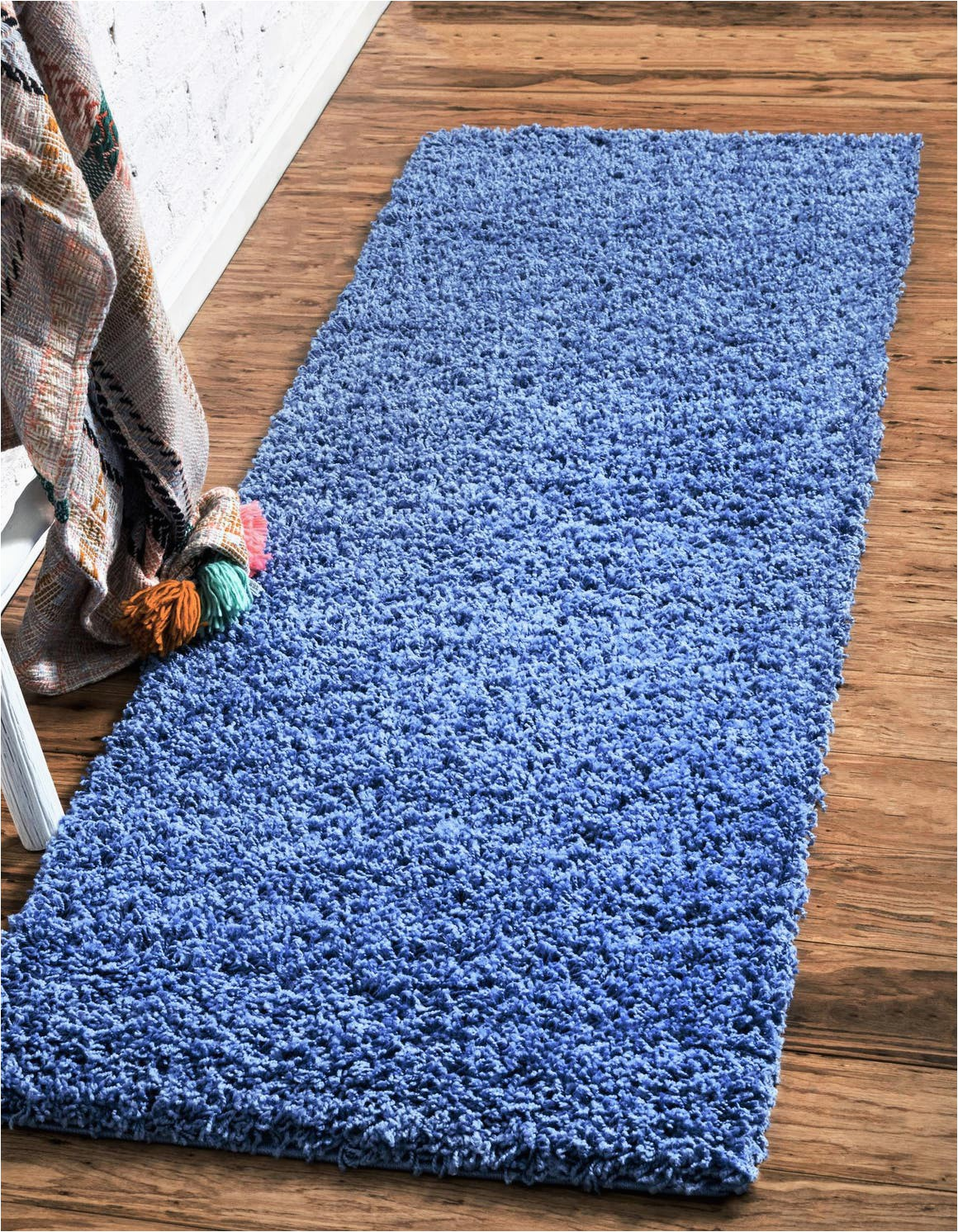 periwinkle blue 13 ft runner solid shag area rug