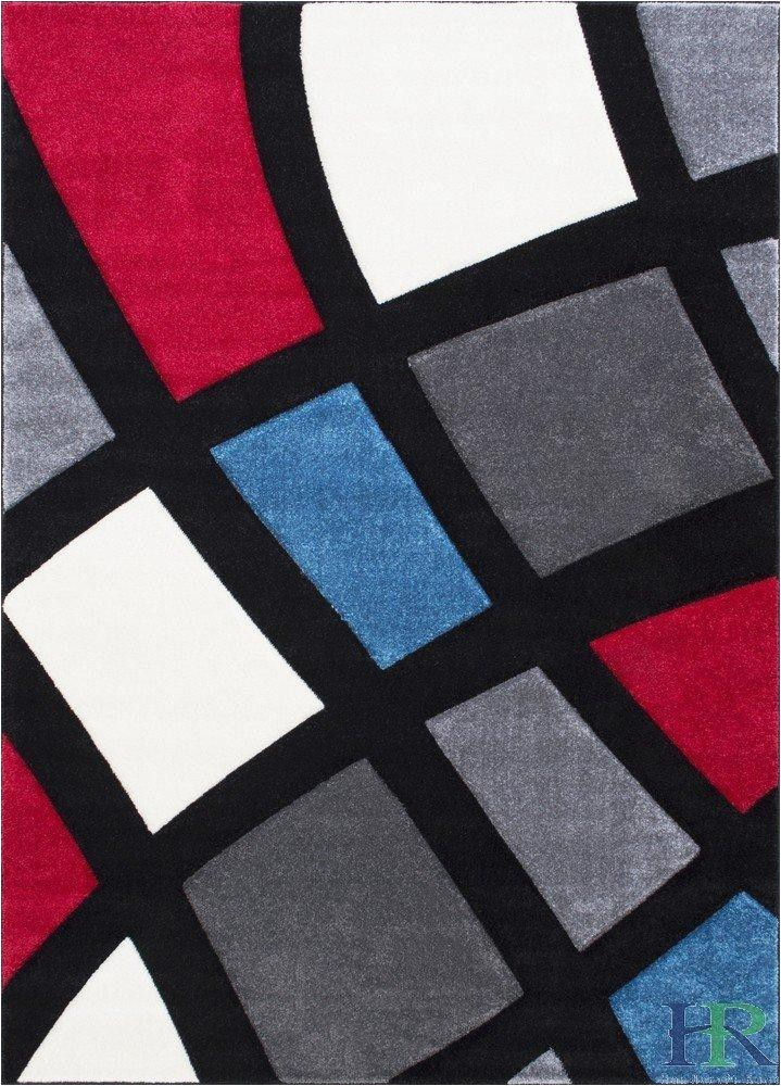 modern window pattern contemporary area rug with 3d hand curve effect gray charcoal blue white red