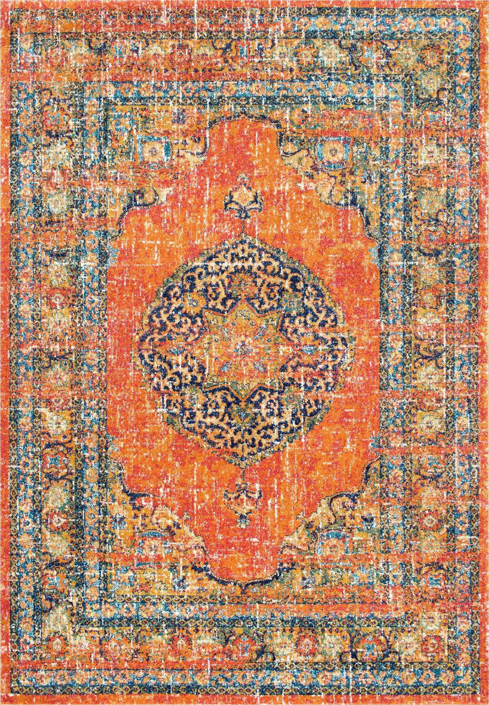 pamela orangeyellowbluewhite area rug
