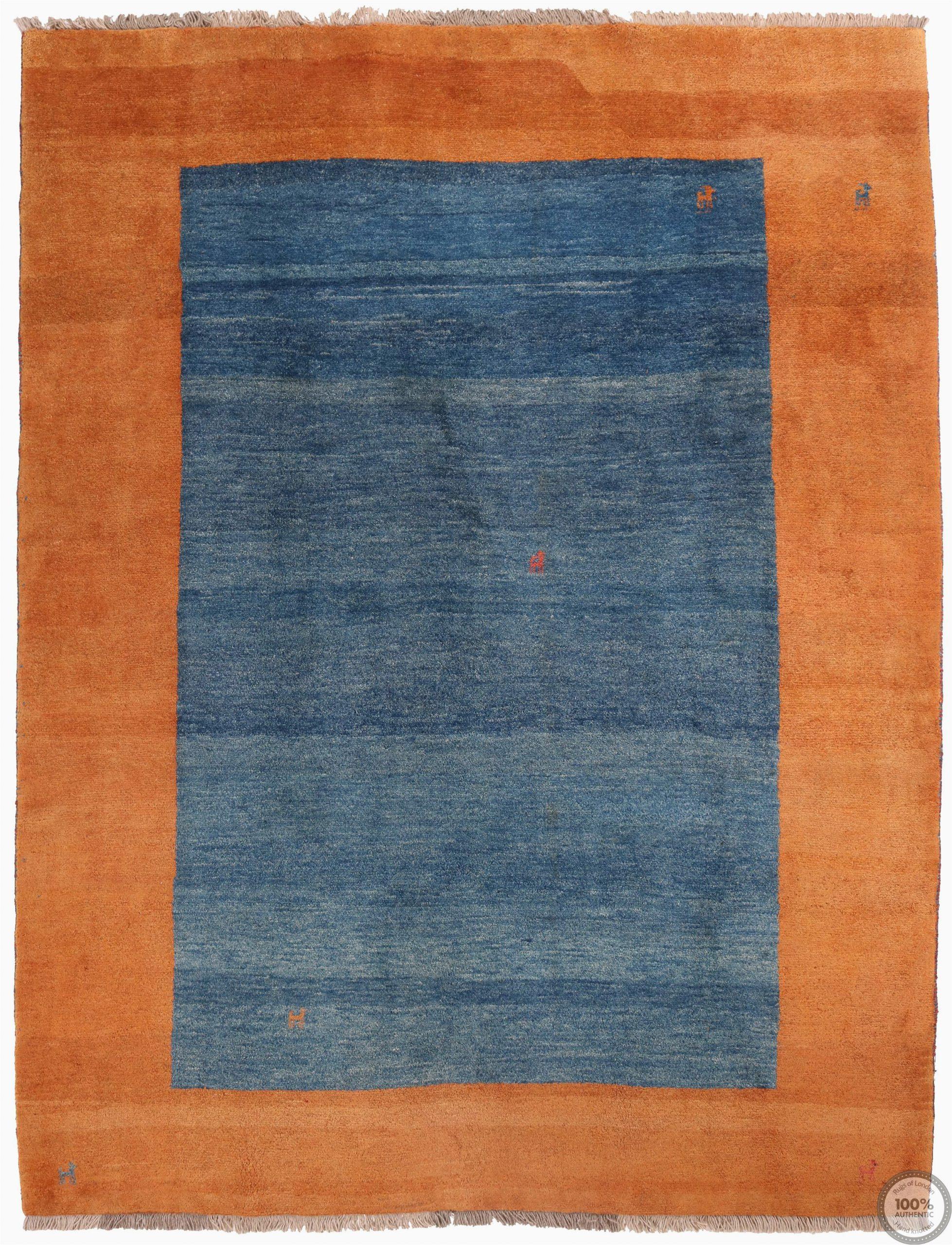 Rug orange and Blue Persian Gabbeh Modern Rug orange and Blue