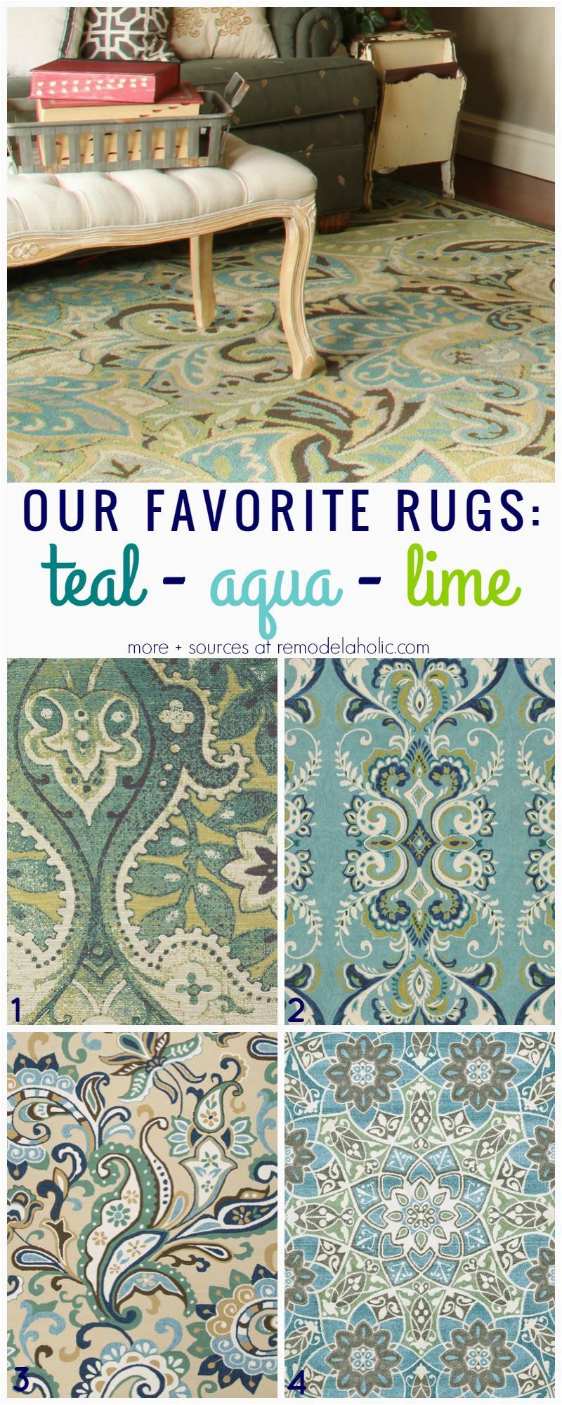 Favorite rugs teal aqua lime 1 4 Remodelaholic