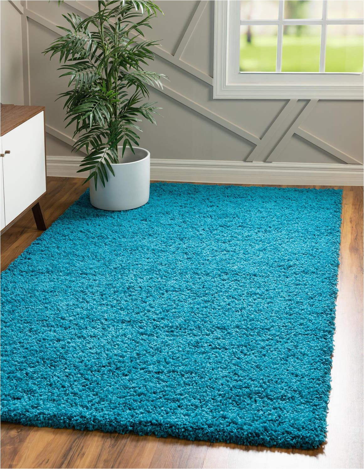 turquoise 7x10 solid shag area rug